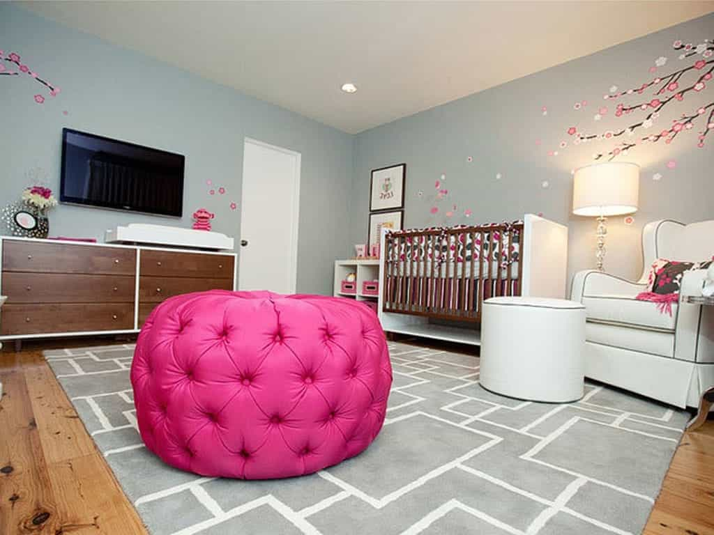 2017 Contemporary Nursery With Pink Accents And LCD TV (Image 2 of 33)