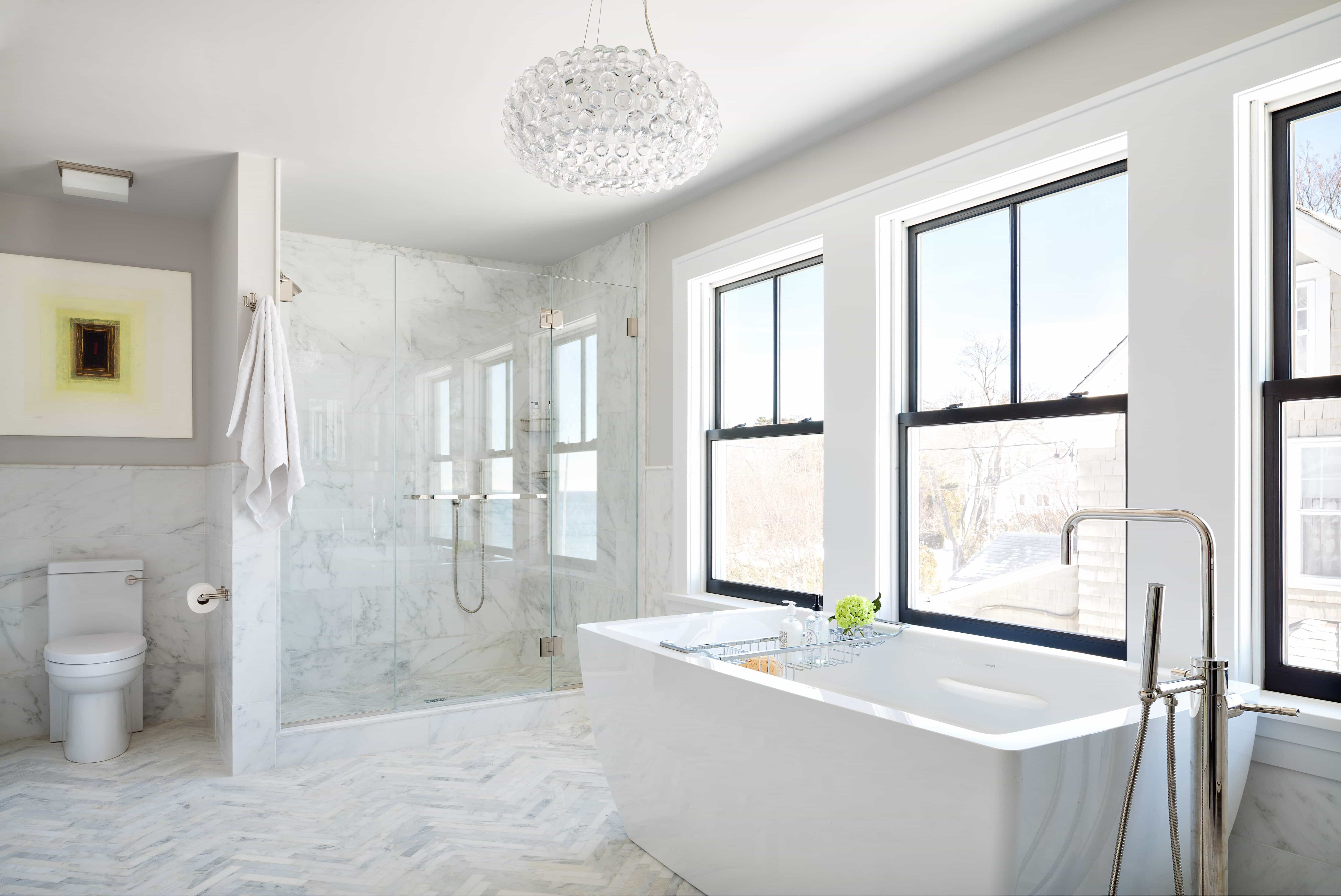 2017 Contemporary White Master Bathroom With Marble Floors (Image 1 of 13)