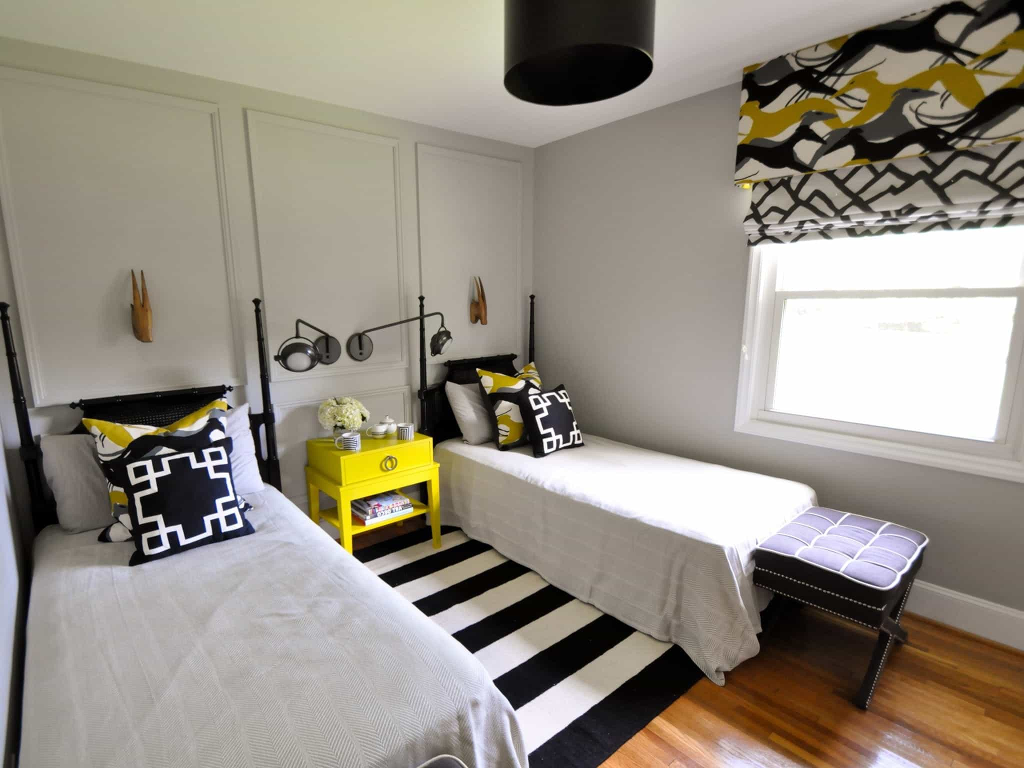 2017 Kids Bedroom With Twin Beds And Black And Yellow Accents (Image 3 of 27)
