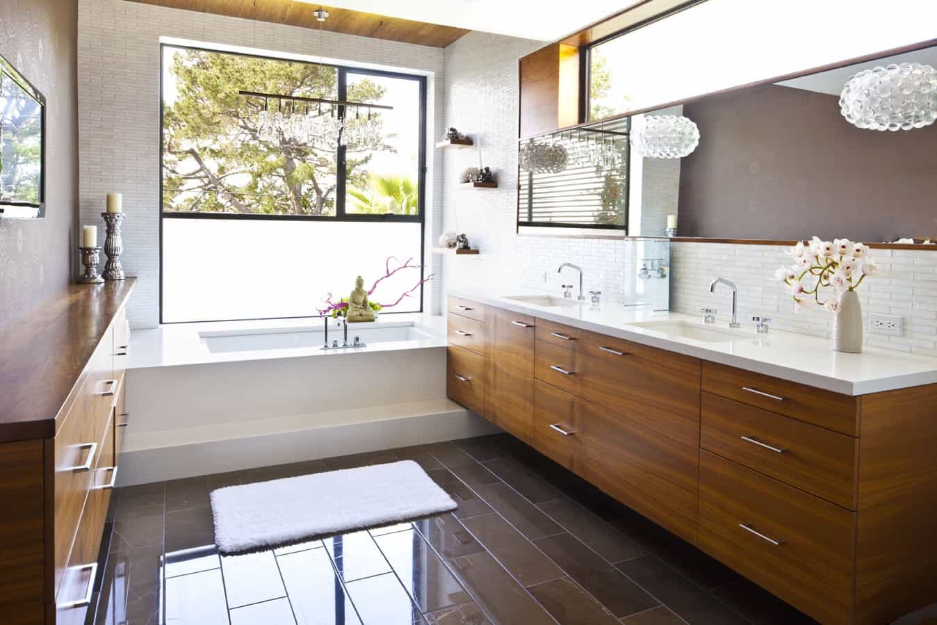 2017 Neutral Bathroom Boasts Midcentury Modern Vanity (View 12 of 29)
