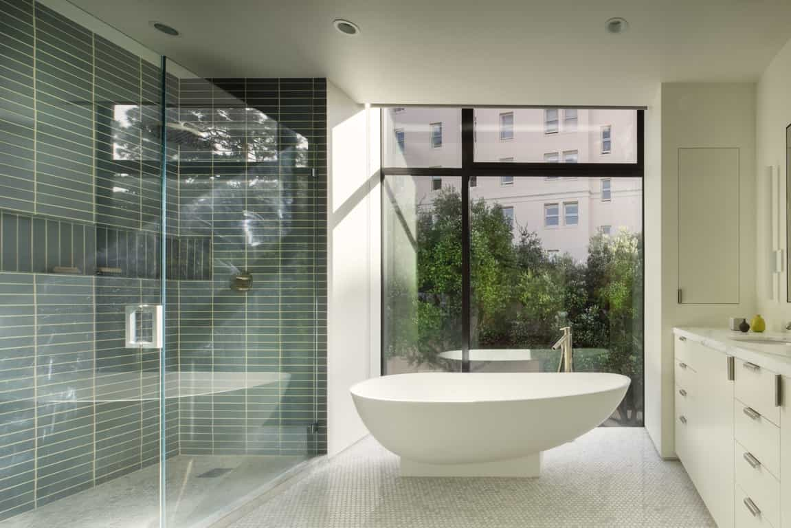 2017 Sleek Modern Bathroom With Freestanding Tub And Glass Shower (Image 9 of 29)