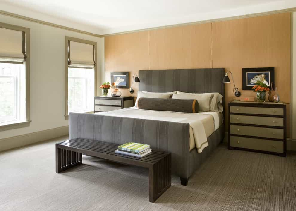 2017 Elegance Transitional Bedroom Idea With Beige Walls And Carpet (Image 1 of 18)