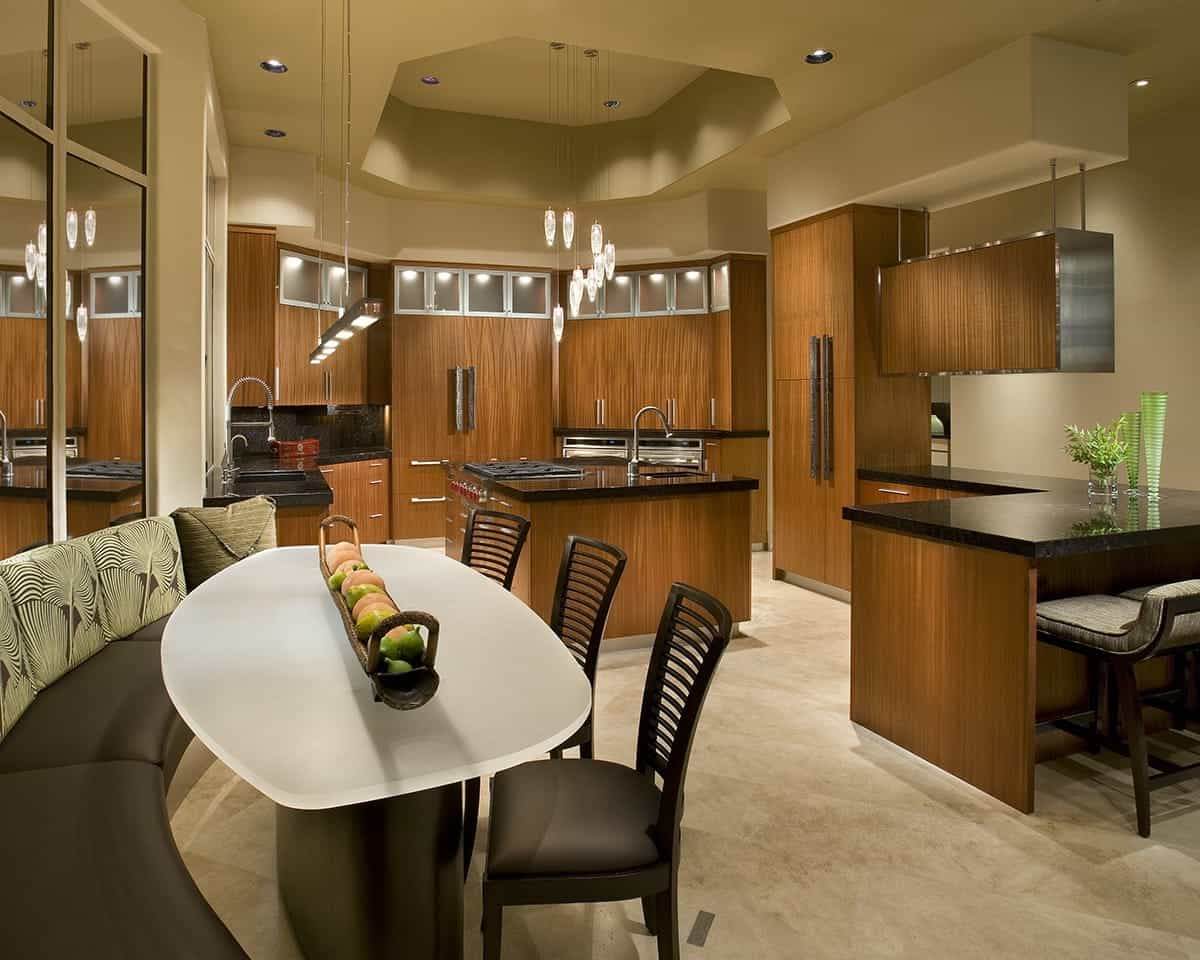 Asian Eat In Kitchen With Sleek Wood Cabinets (View 22 of 32)