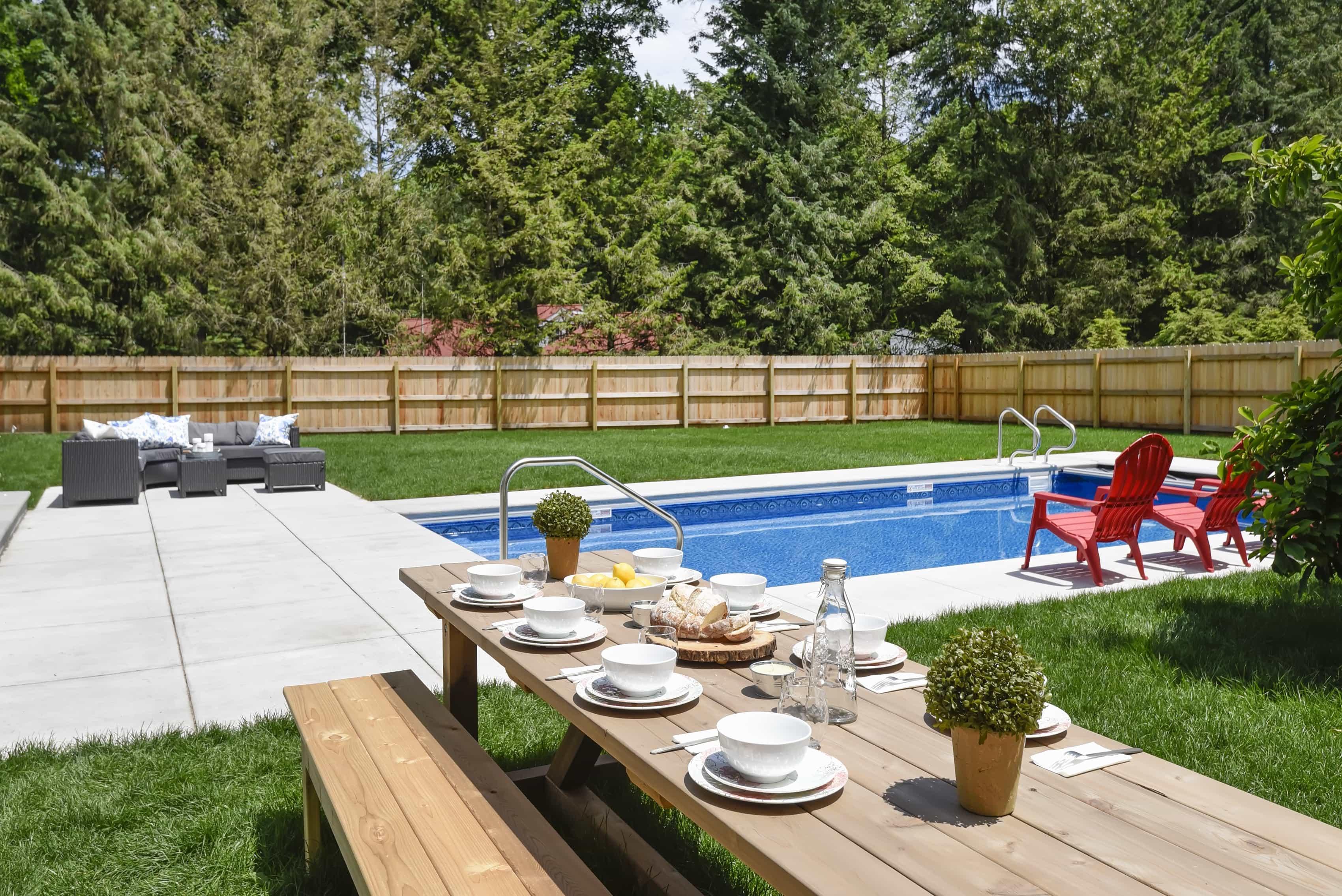 Backyard With Pool And Picnic Table (Image 3 of 25)