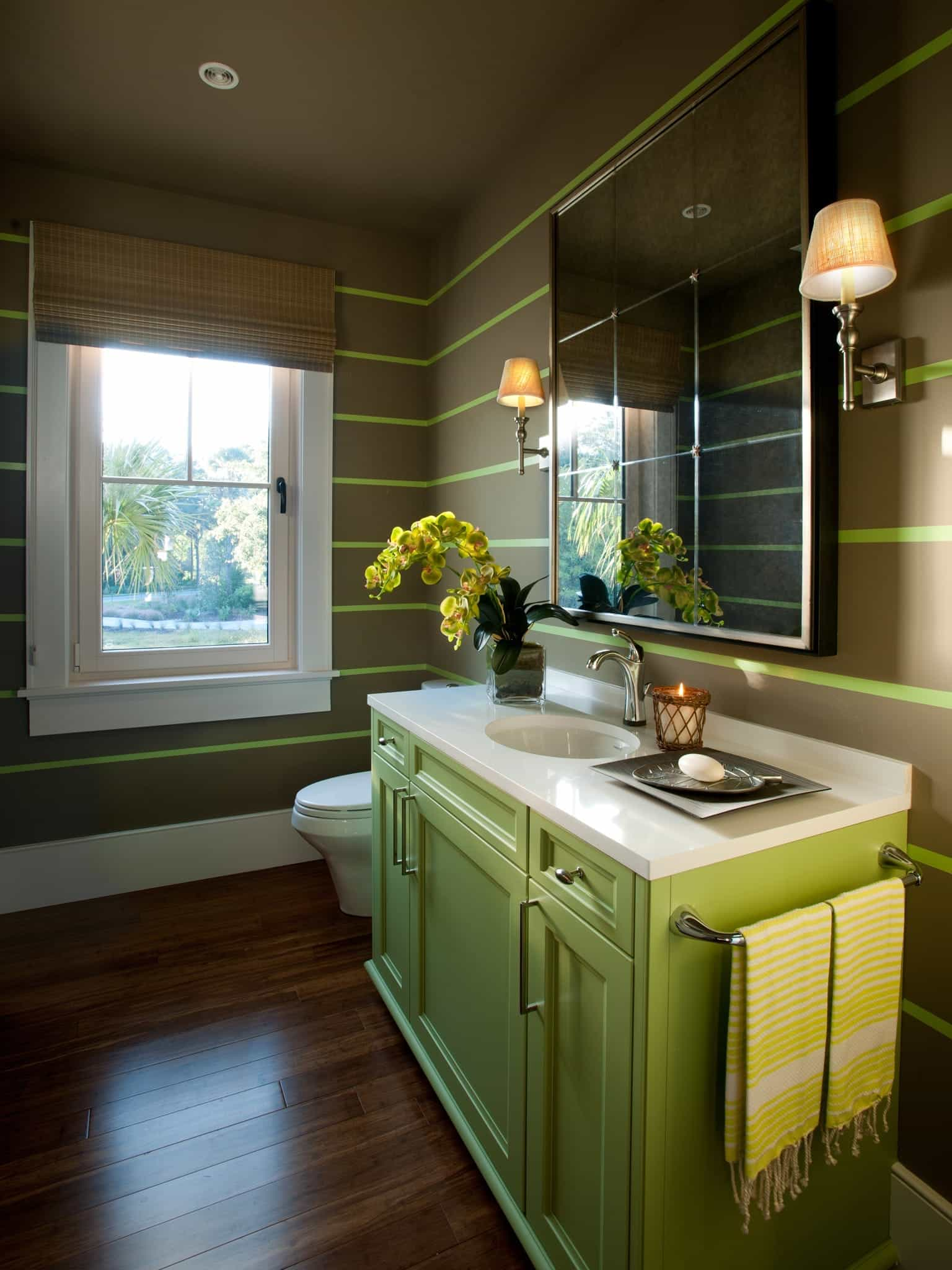 Bathroom With Green Vintage Vanity And Striped Walls (Image 2 of 12)