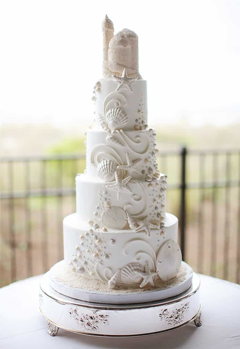 Beach Seaside Wedding Three Tiers Cake (Image 2 of 13)
