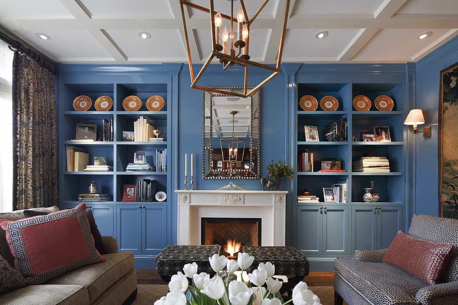 Beautiful Blue Bookshelves In Traditional Living Room (Image 4 of 29)