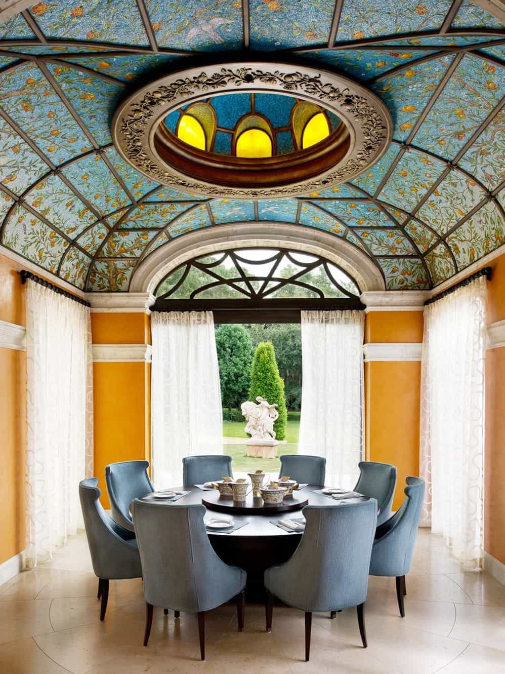 Beautiful Dining Room With Ornate Ceiling And Round Dining Table (View 25 of 25)