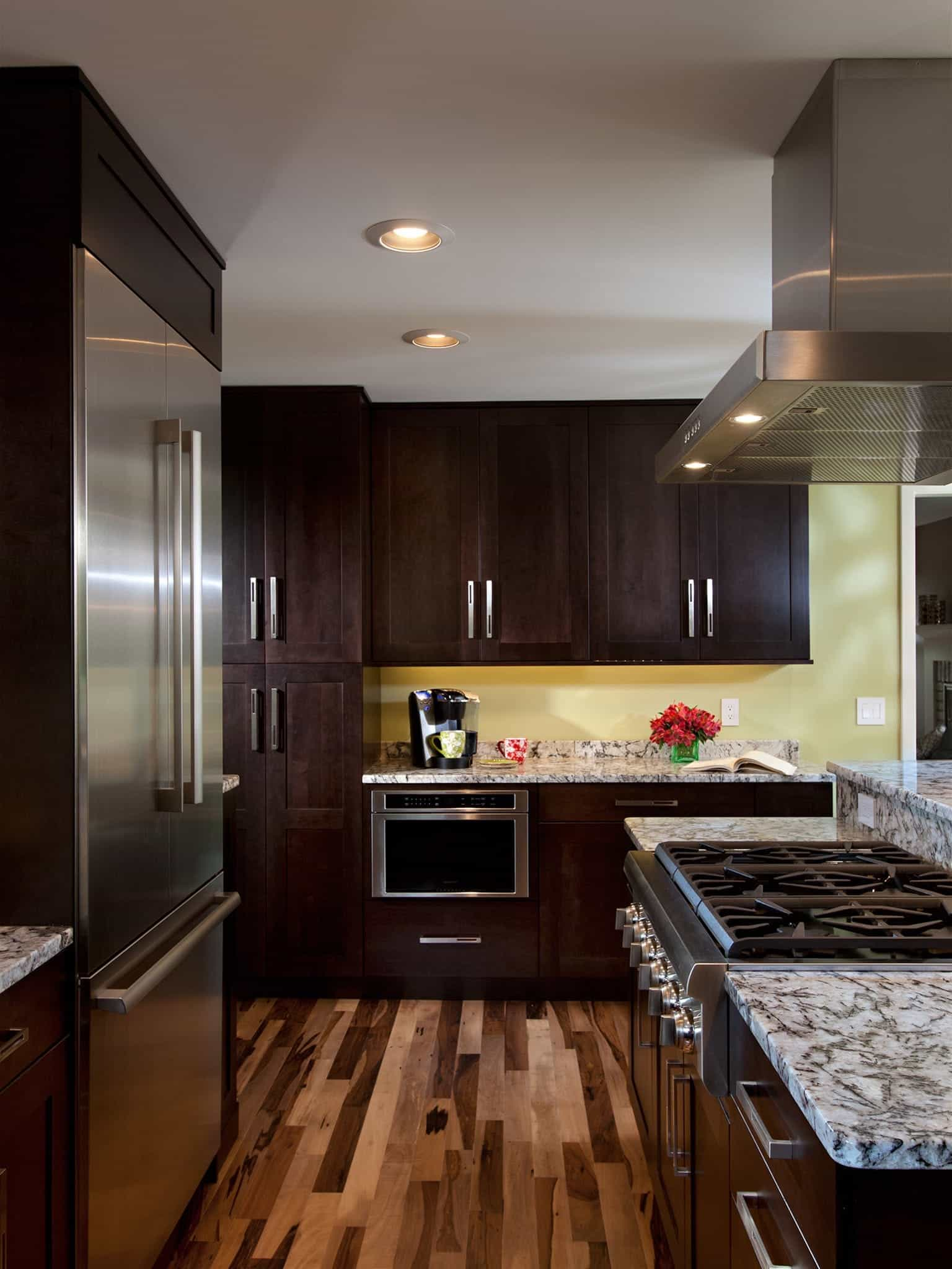 Beautiful Hardwood Floors In Transitional Kitchen (Image 2 of 12)