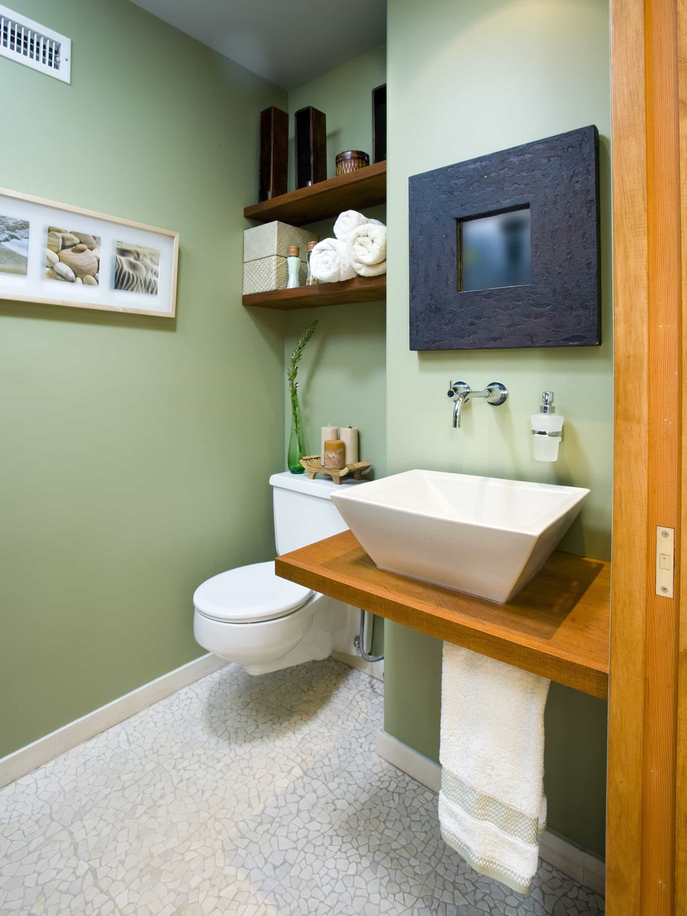 Beauty Sage Green Asian Spa Inspired Bathroom With Mounted Vanity And Toilet (Image 3 of 12)