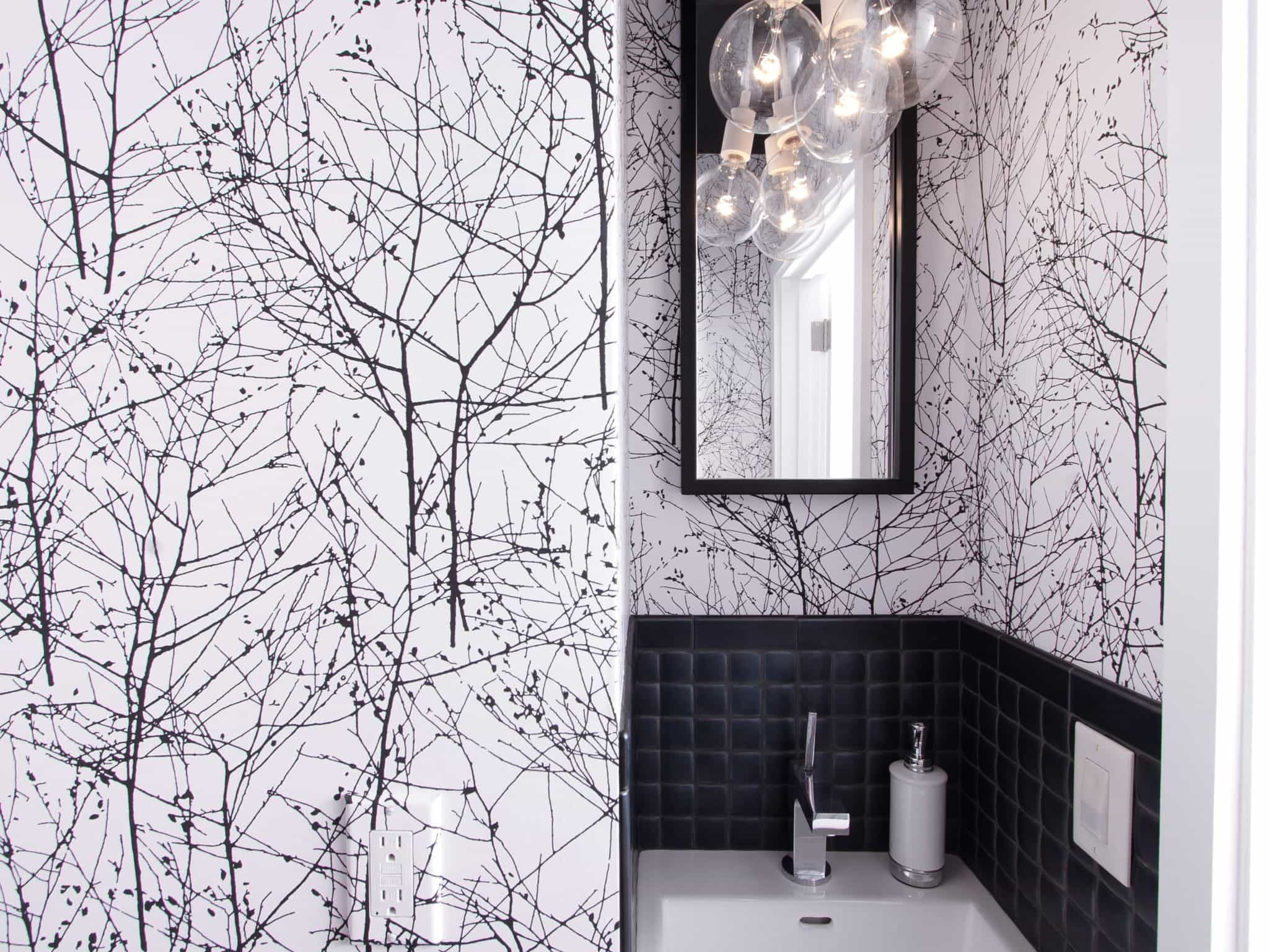 Black White Tree Patterned Wallpaper For Modern Bathroom (Image 2 of 10)