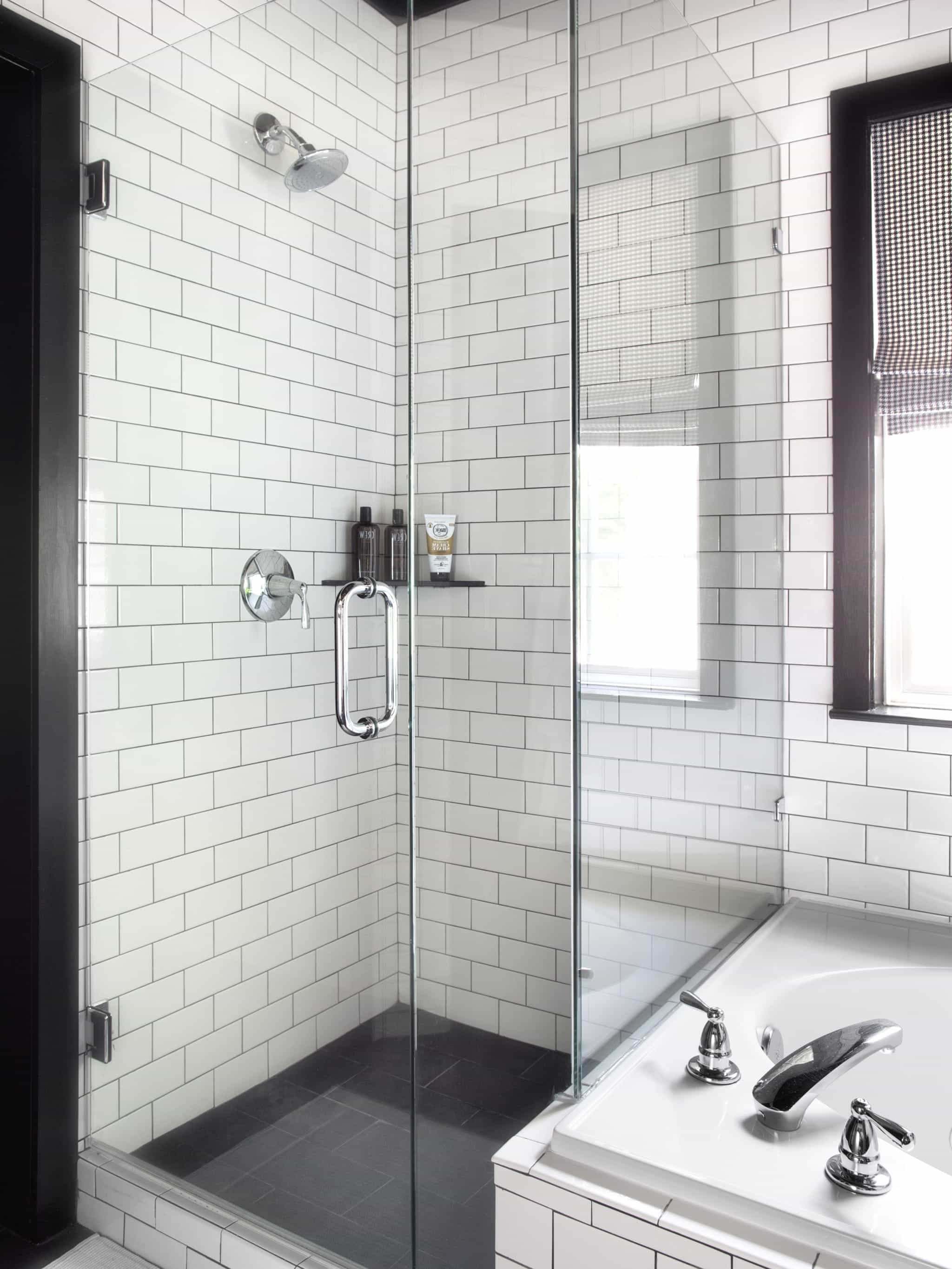 Black And White Contemporary Bathroom With Brick Pattern Tile (Image 2 of 20)