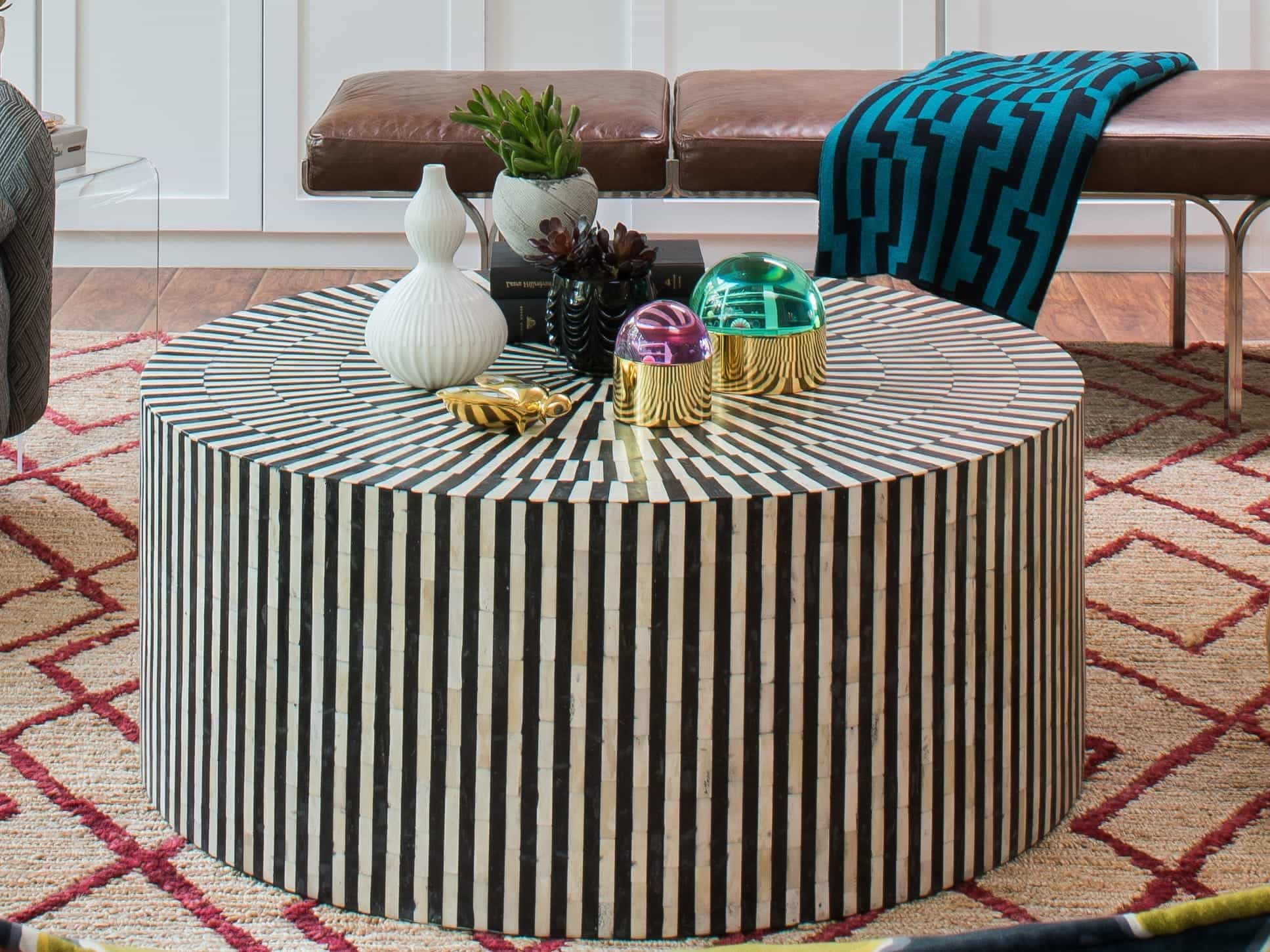 Black And White Patterned Round Coffee Table For Lost Creek Living Room (Image 6 of 32)