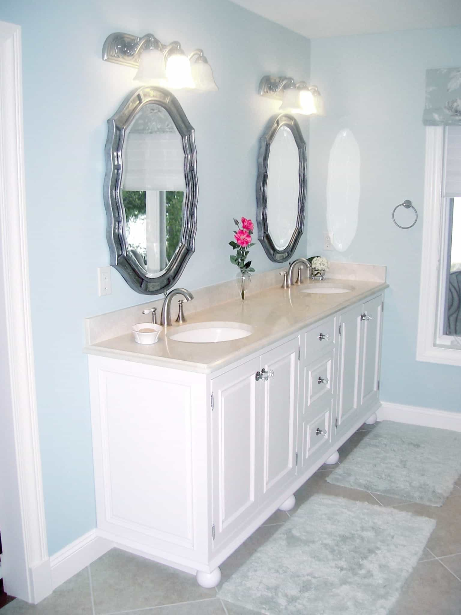 Blue Modern Bathroom With Double Vintage Vanity (Image 3 of 12)