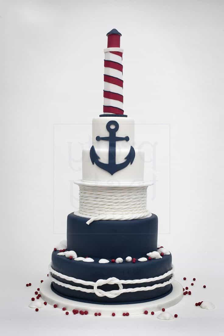 Blue Theme Seaside Wedding Cakes (Image 4 of 13)