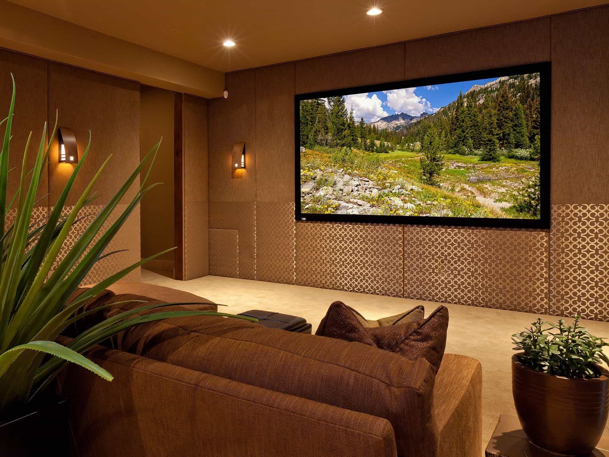 Brown And Gold Contemporary Media Room Cozy Design (View 20 of 21)