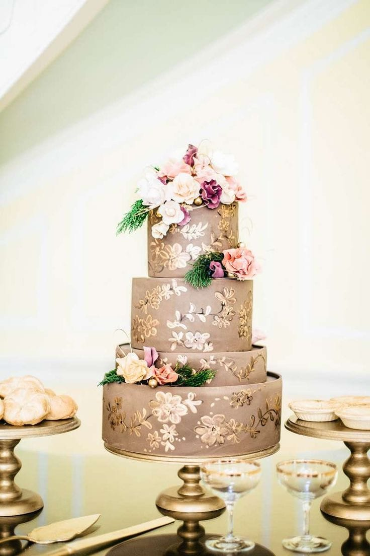 Brown And Gold Couture Wedding Cakes With Floral Details (Image 4 of 20)