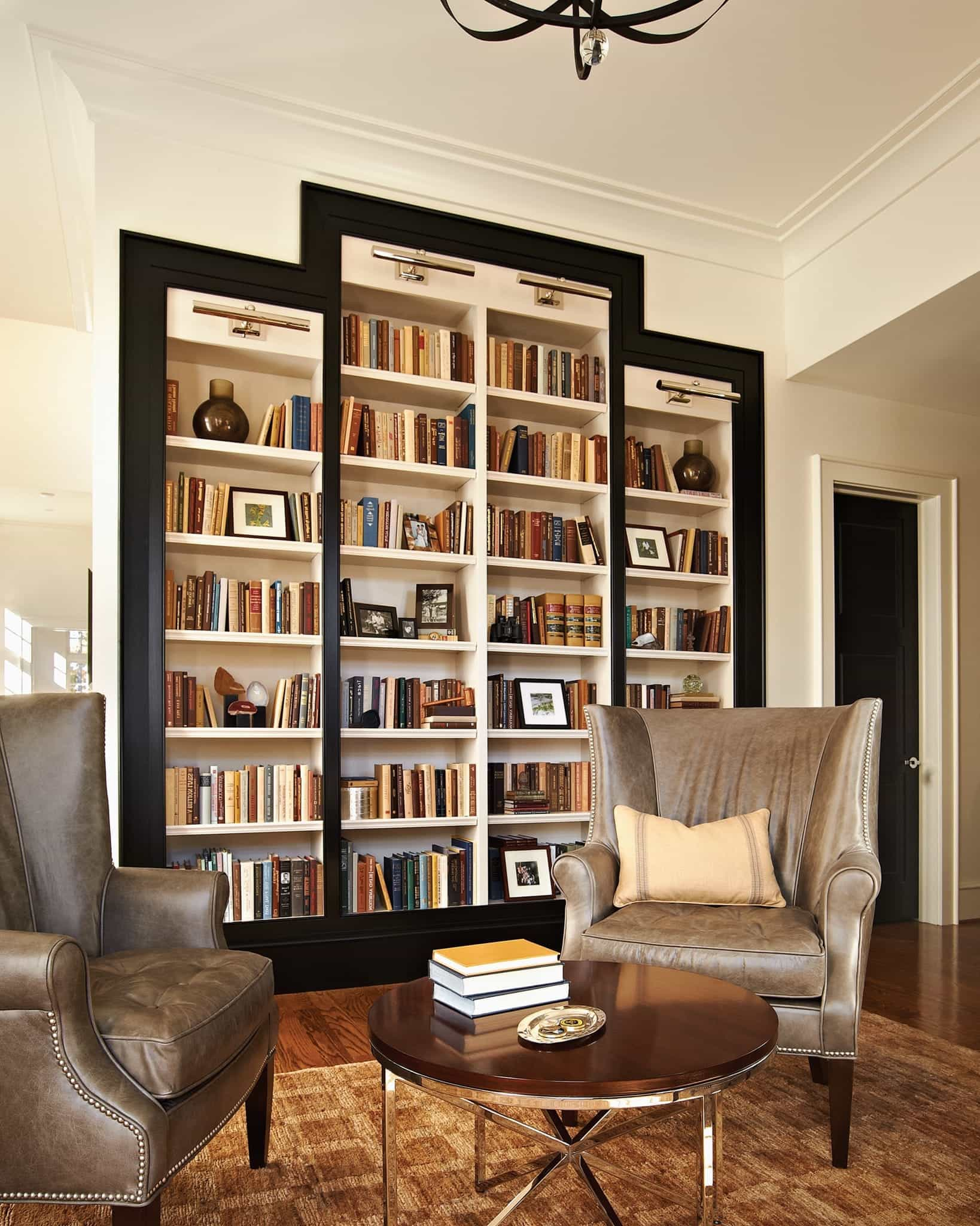 Built In Bookcase With Black Lacquer Trim (Image 7 of 29)