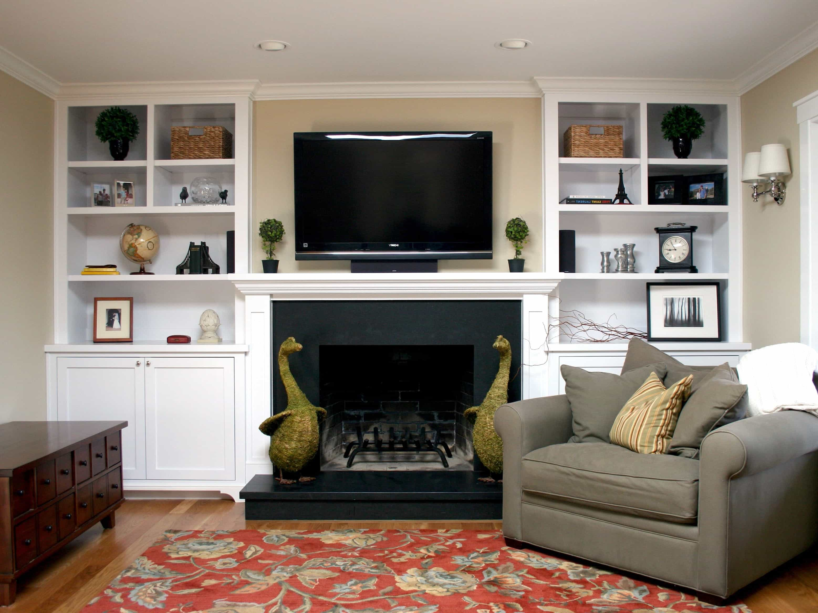 Built In Bookcases And Fireplace In Transitional Living Room (Image 8 of 29)