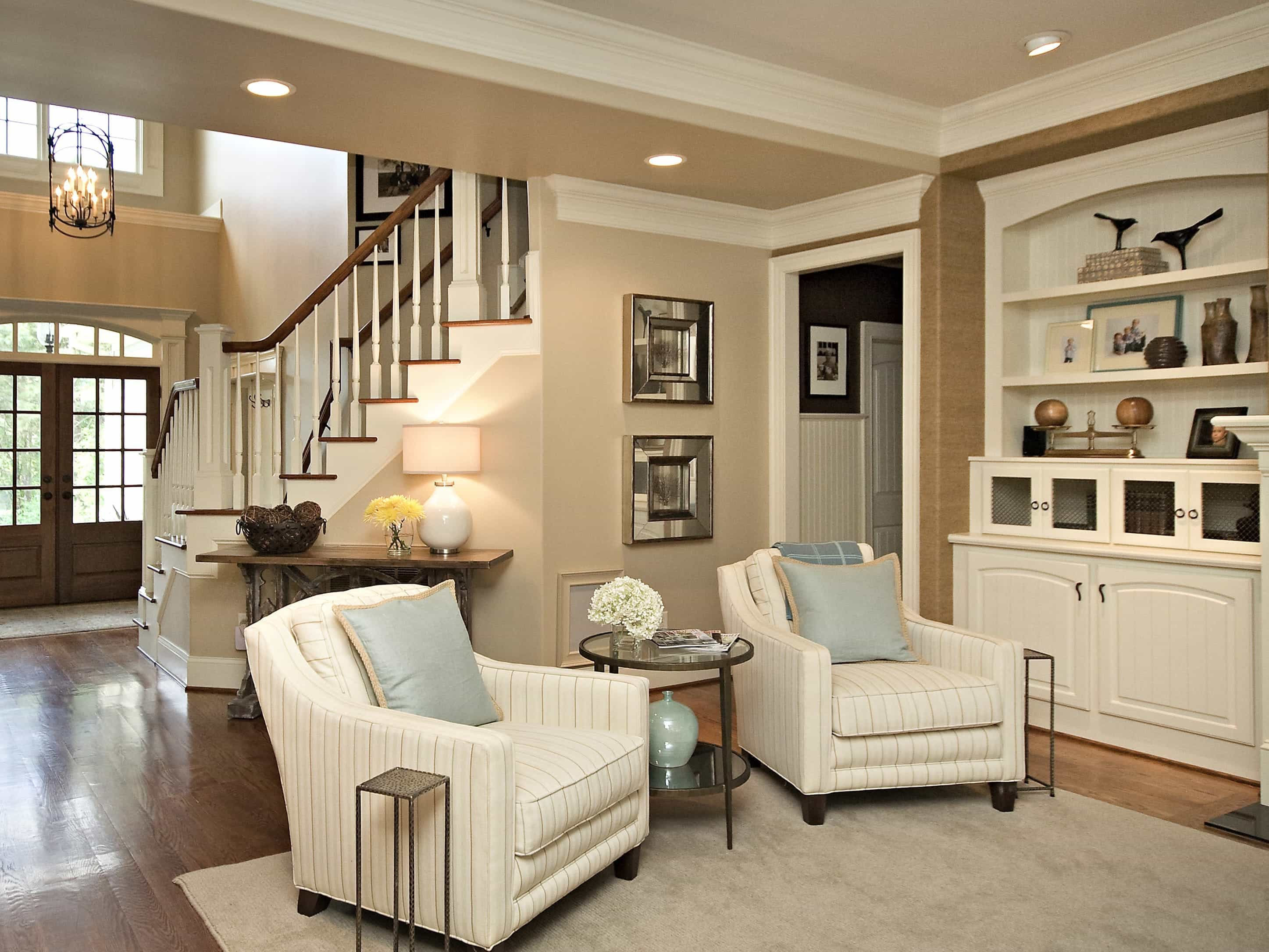 Built In Bookcases For Traditional Open Neutral Living Room (Image 9 of 29)