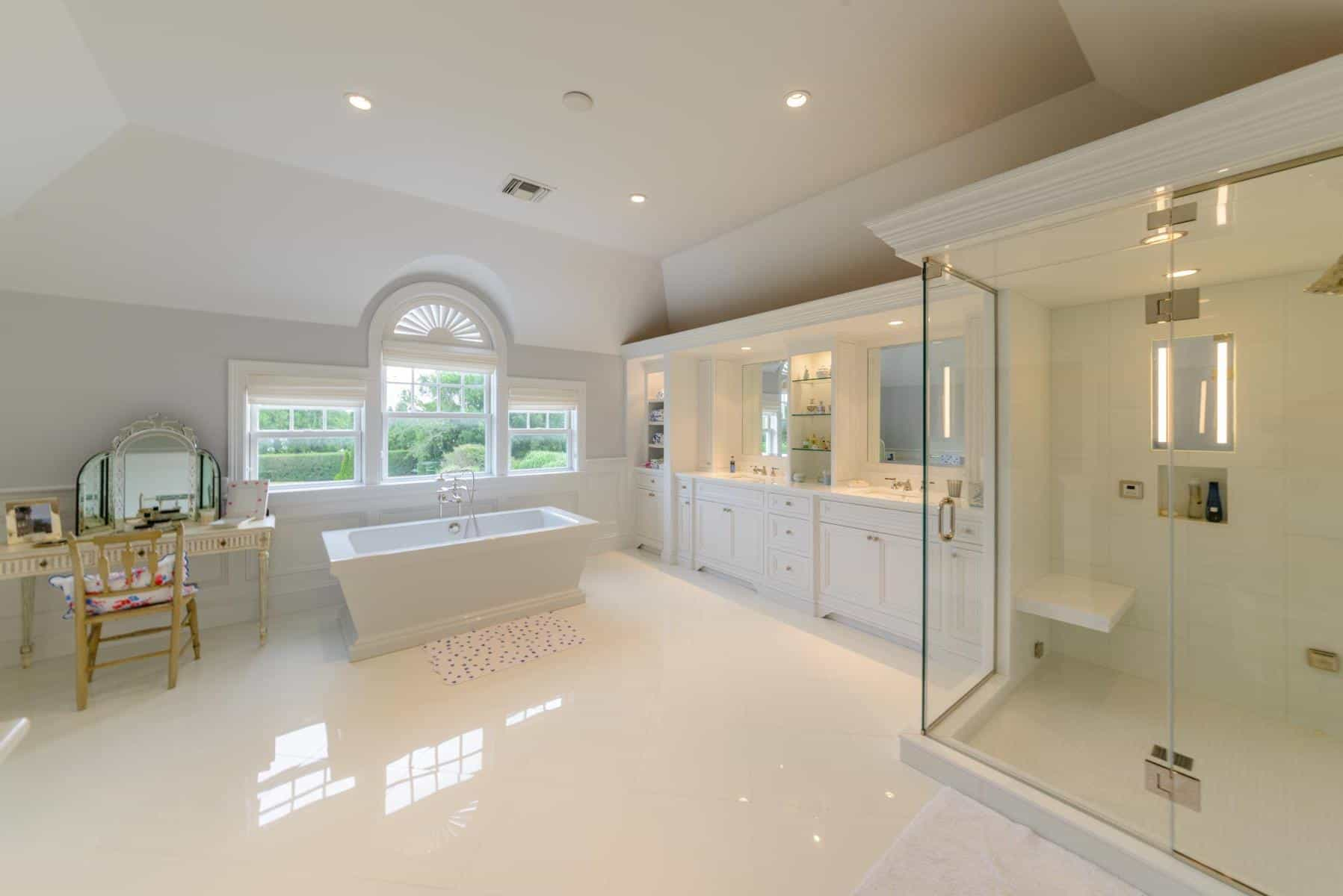 Celebrity Inspired Large Bathroom And Shower Interior (Image 4 of 20)