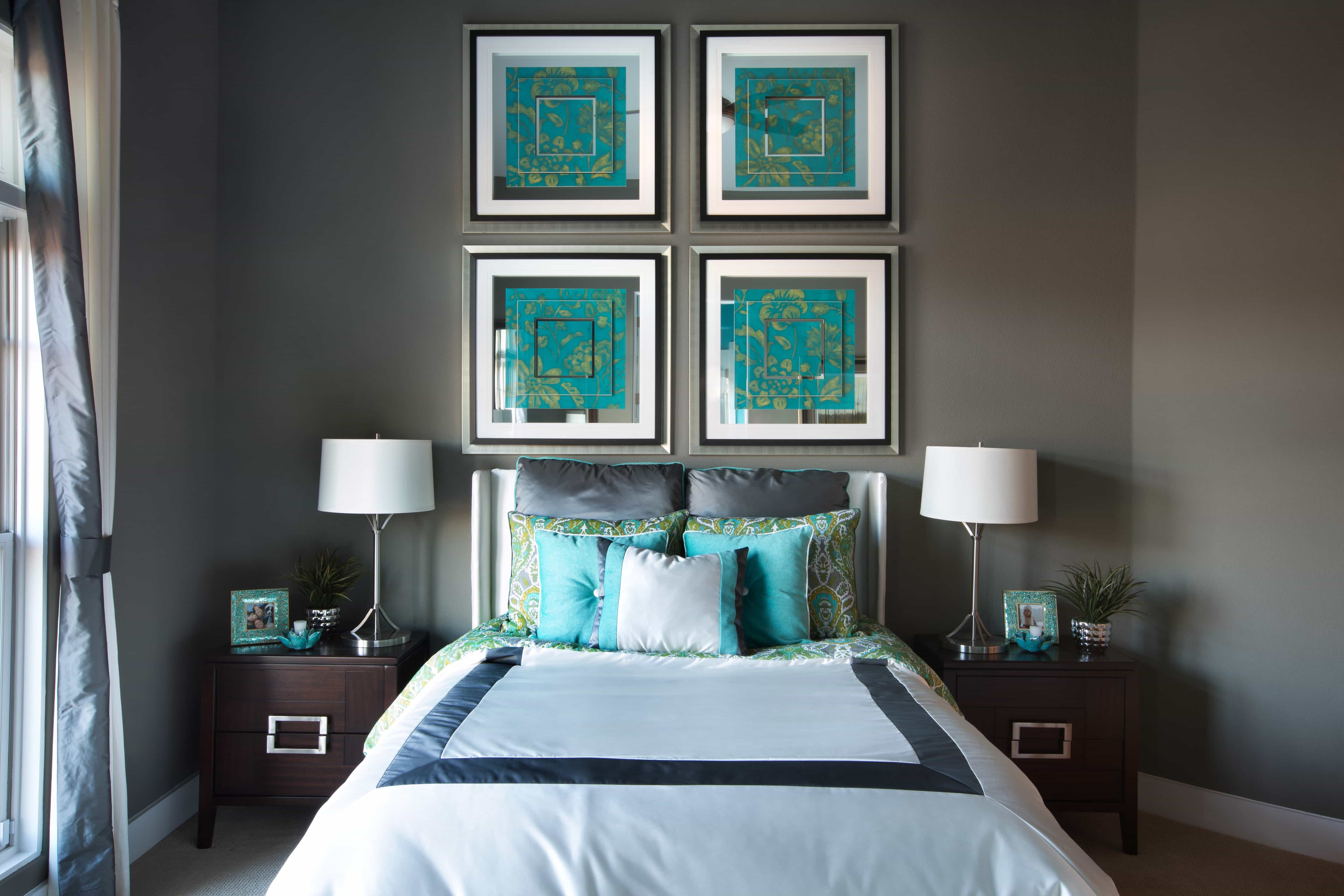 Charcoal Bedroom With Turquoise Accents And Asian Flair (Image 13 of 32)