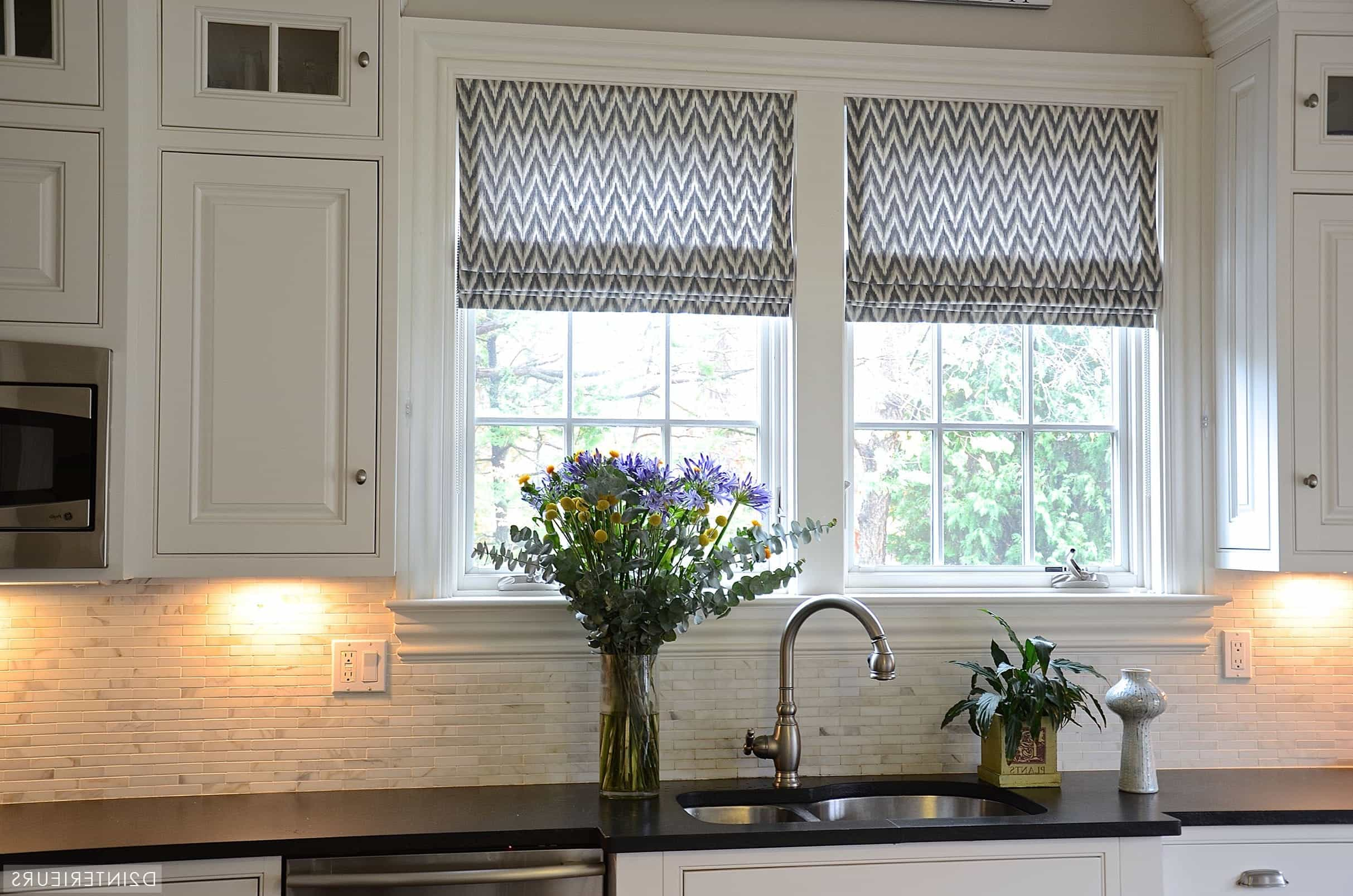 Chevron Roman Shades Pop In Black And White Curtain For Traditional Kitchen Window (Image 1 of 11)