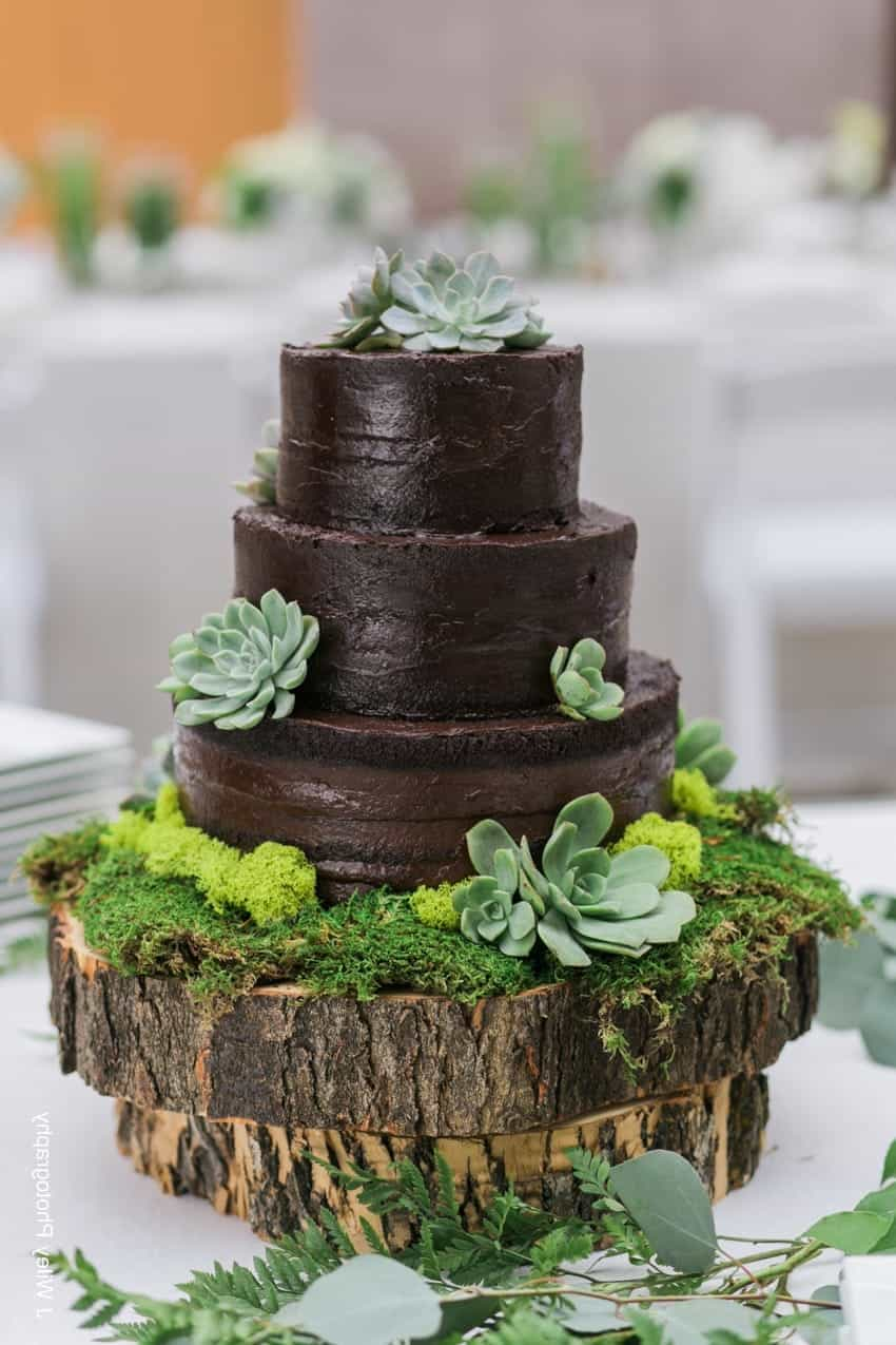 Chocolate Wedding Cake With Green Leaf (Image 4 of 30)