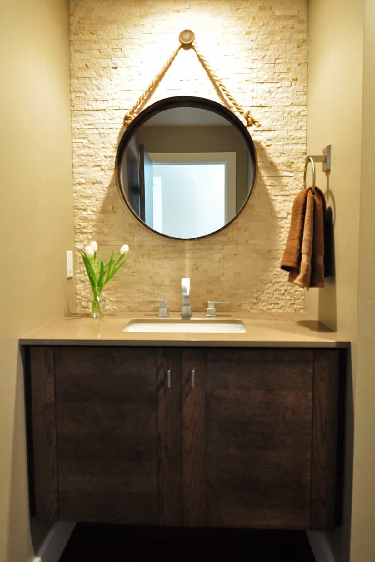 Circular Blue Bathroom Mirror With Lighting In The Back (Image 5 of 20)