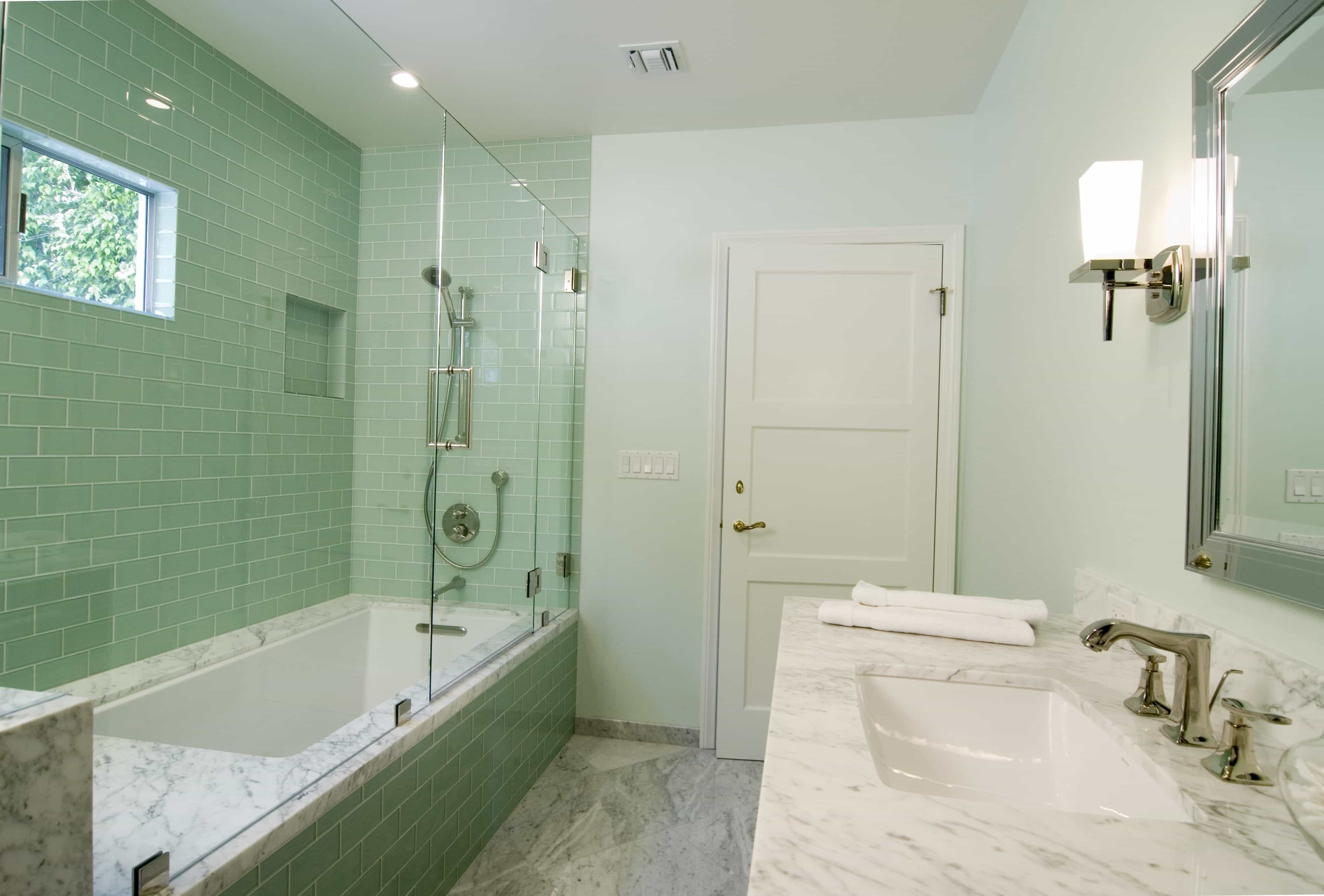 Classic Bathroom Interior Remodel With Green Ceramic Tiles For Fresh Looking (Image 5 of 12)
