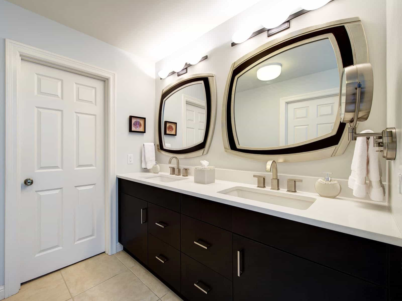 Classic Contemporary Bathroom With Dual Vanity And Framed Mirrors With Light (Image 6 of 20)