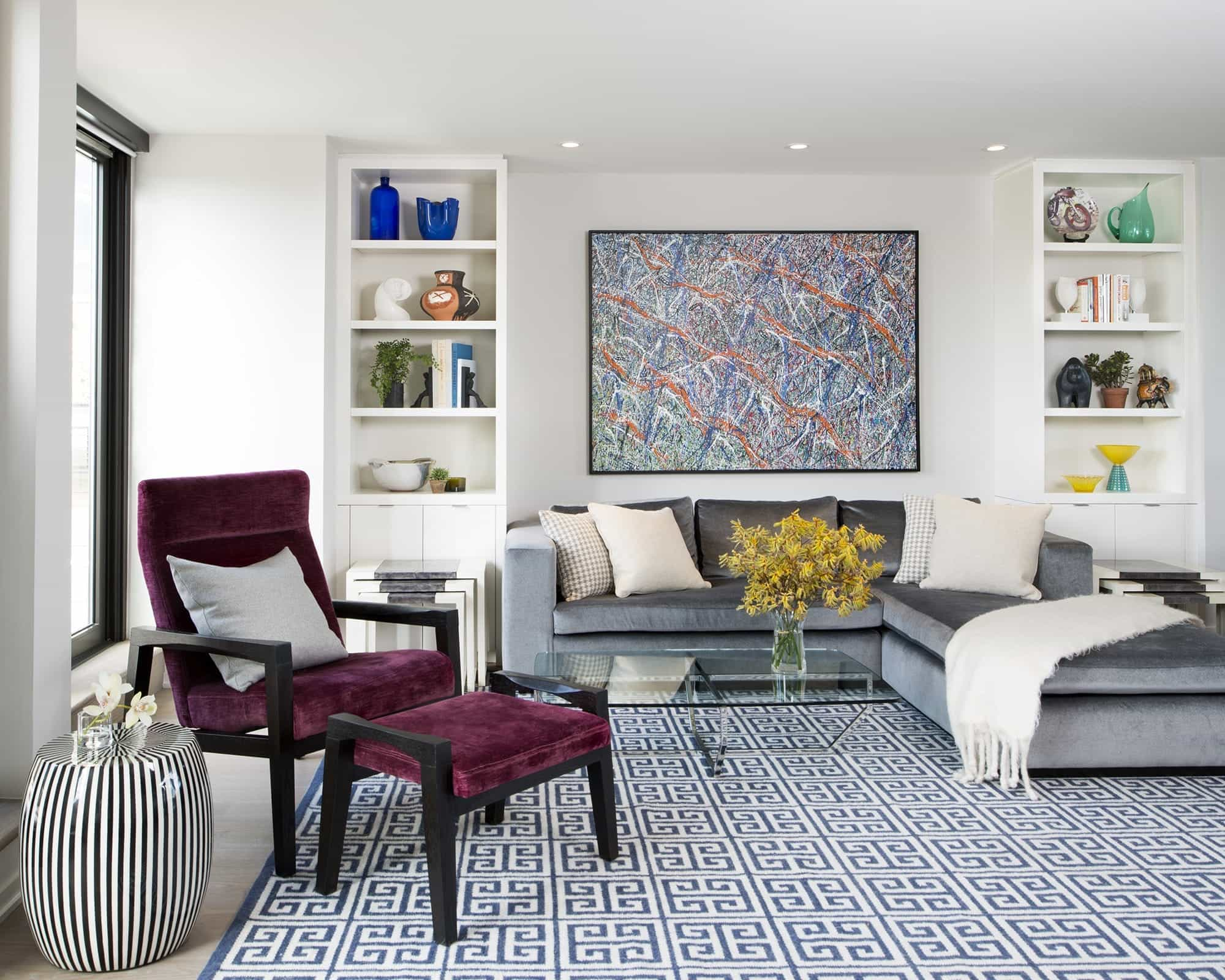 Classy Modern Living Room With Maroon Chair And Greek Key Rug Carpet Flooring (View 13 of 13)
