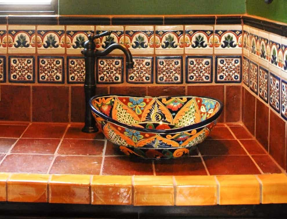 Colorful Mexican Tile Bathroom (Image 3 of 10)