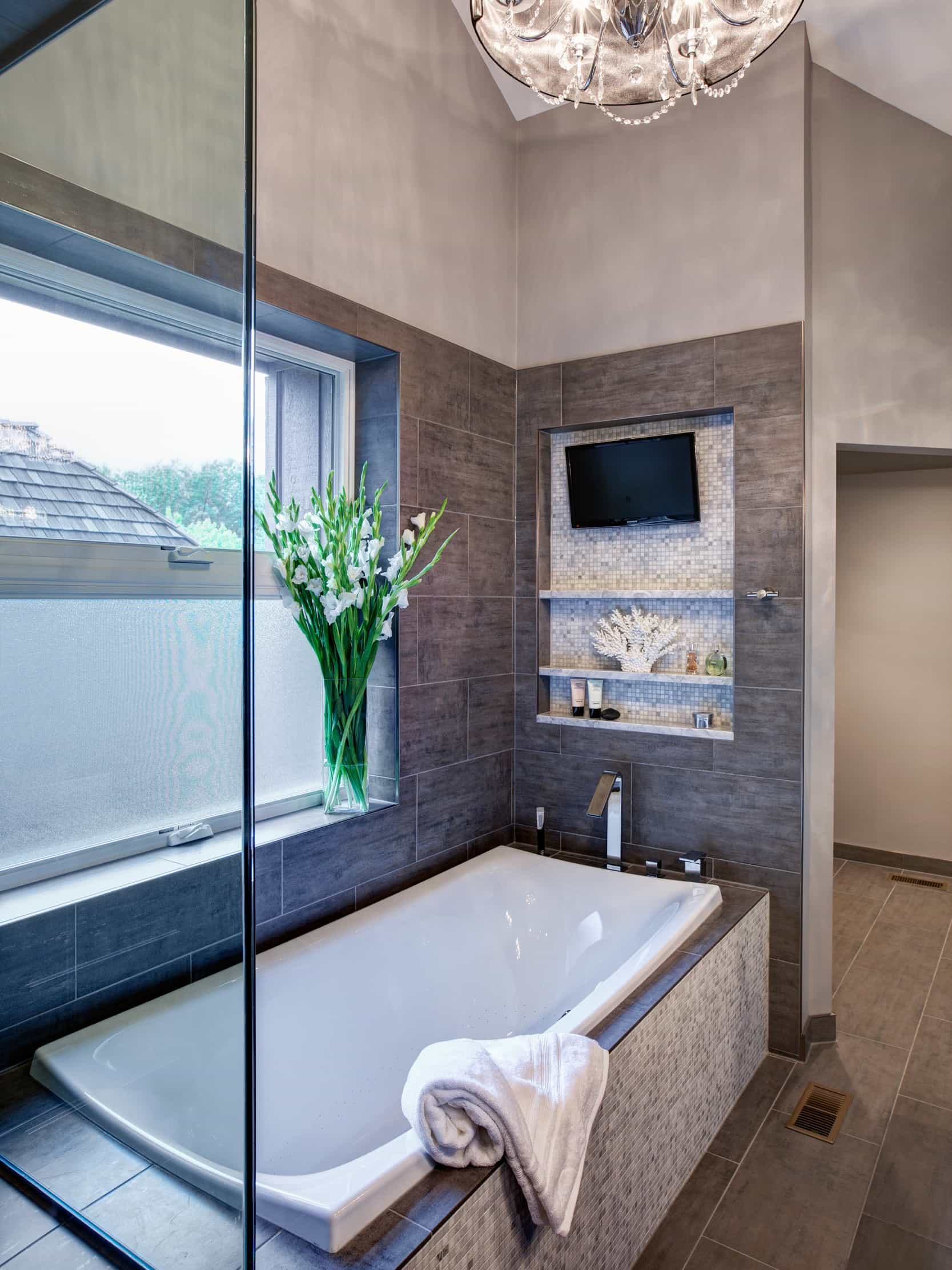 Contemporary Bathroom Interior With Soaking Tub And TV (Image 3 of 15)