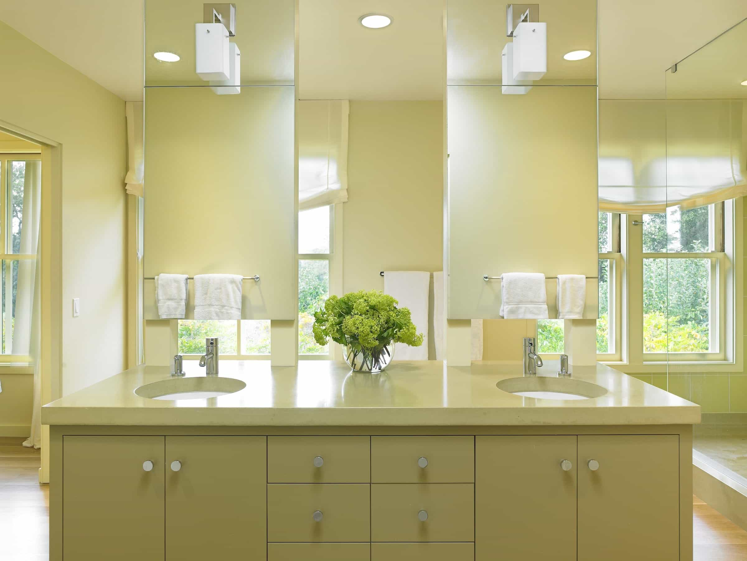 Contemporary Bathroom With Tall Double Vanity Mirrors And Light Fixtures (Photo 11 of 20)
