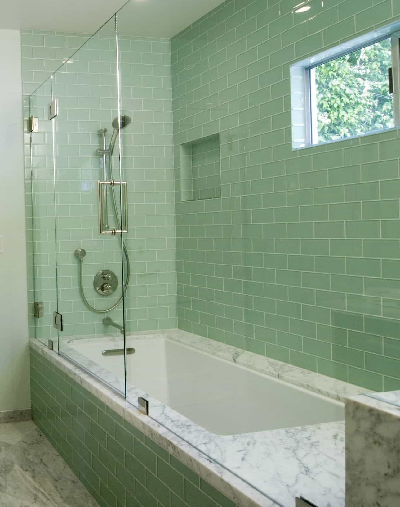 Contemporary Bathroom With Bathtub And Shower Combo With Green Ceramic Tiles (Image 6 of 12)