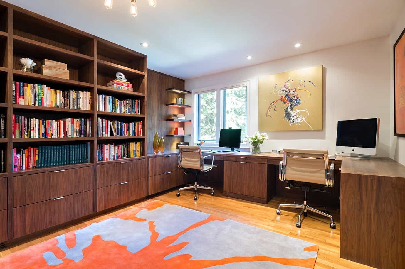 Contemporary Home Office For Two With Built In Flat Cabinets And Bookshelves (View 9 of 10)