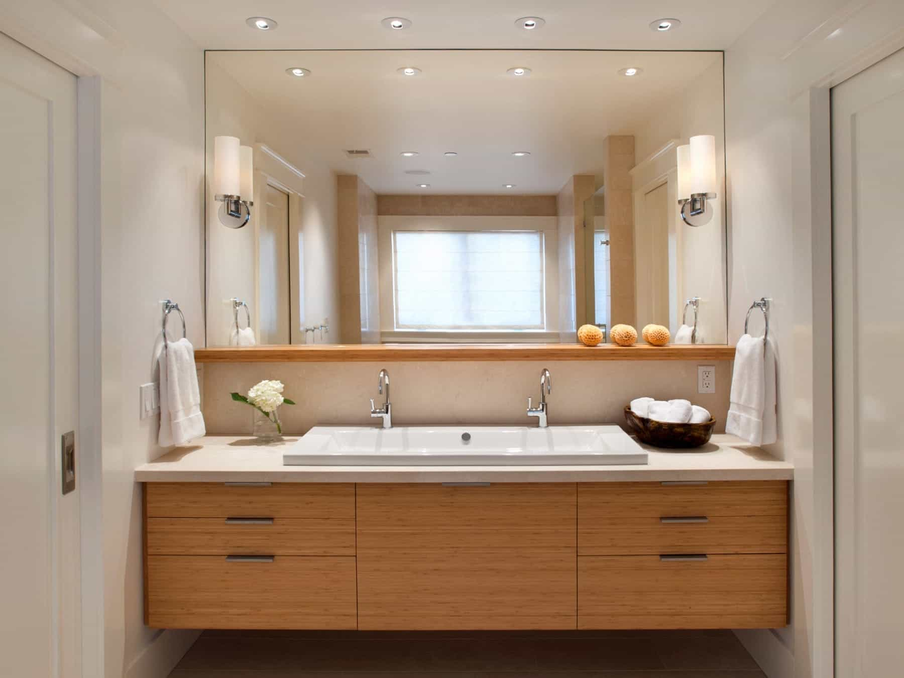 Contemporary Large Bathroom Mirror With LED Lighting (Image 9 of 20)