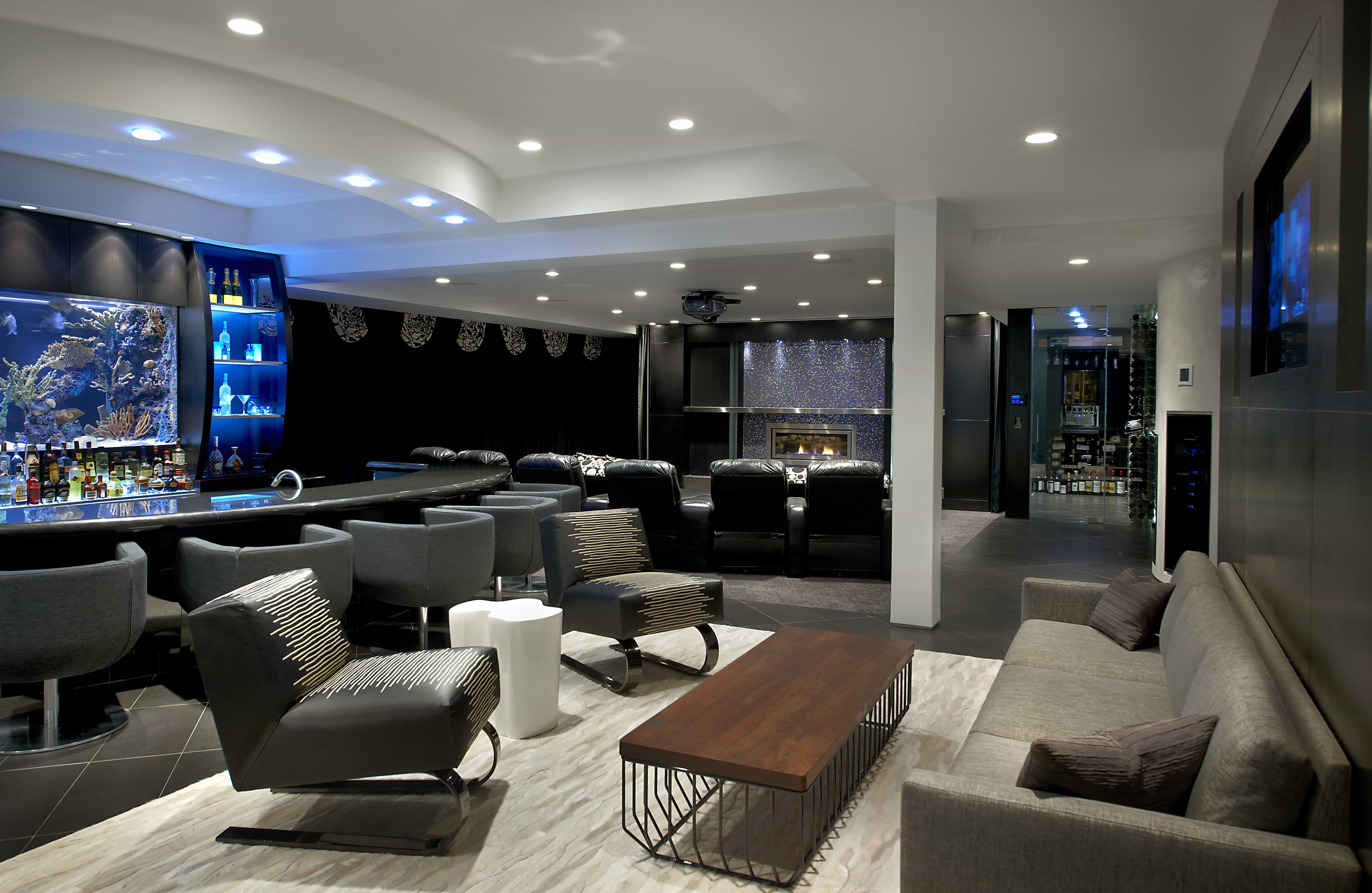 Contemporary Lounge With Bar And Home Theater (Image 5 of 21)