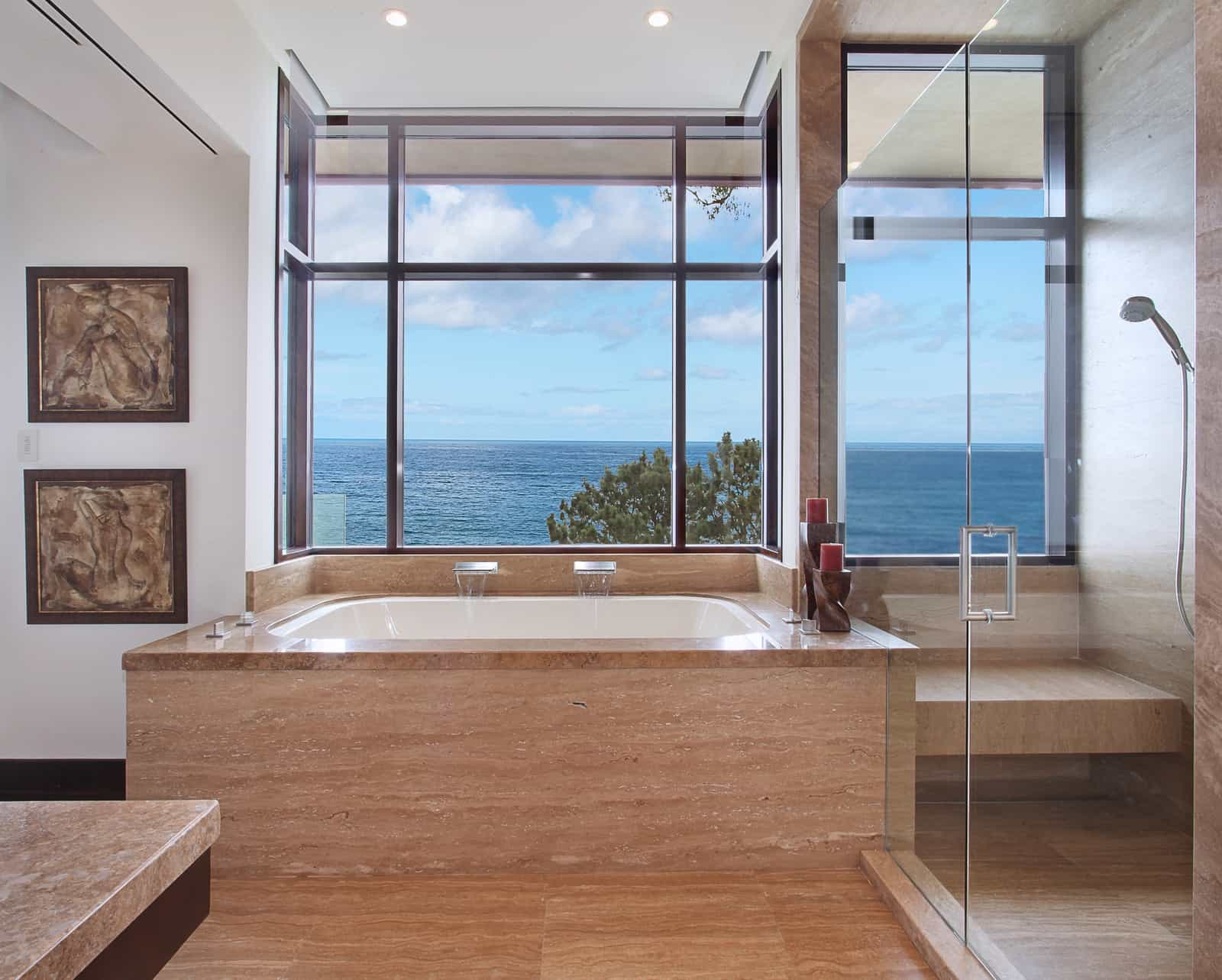 Contemporary Master Bathroom With Large Glass Windows (Image 12 of 29)