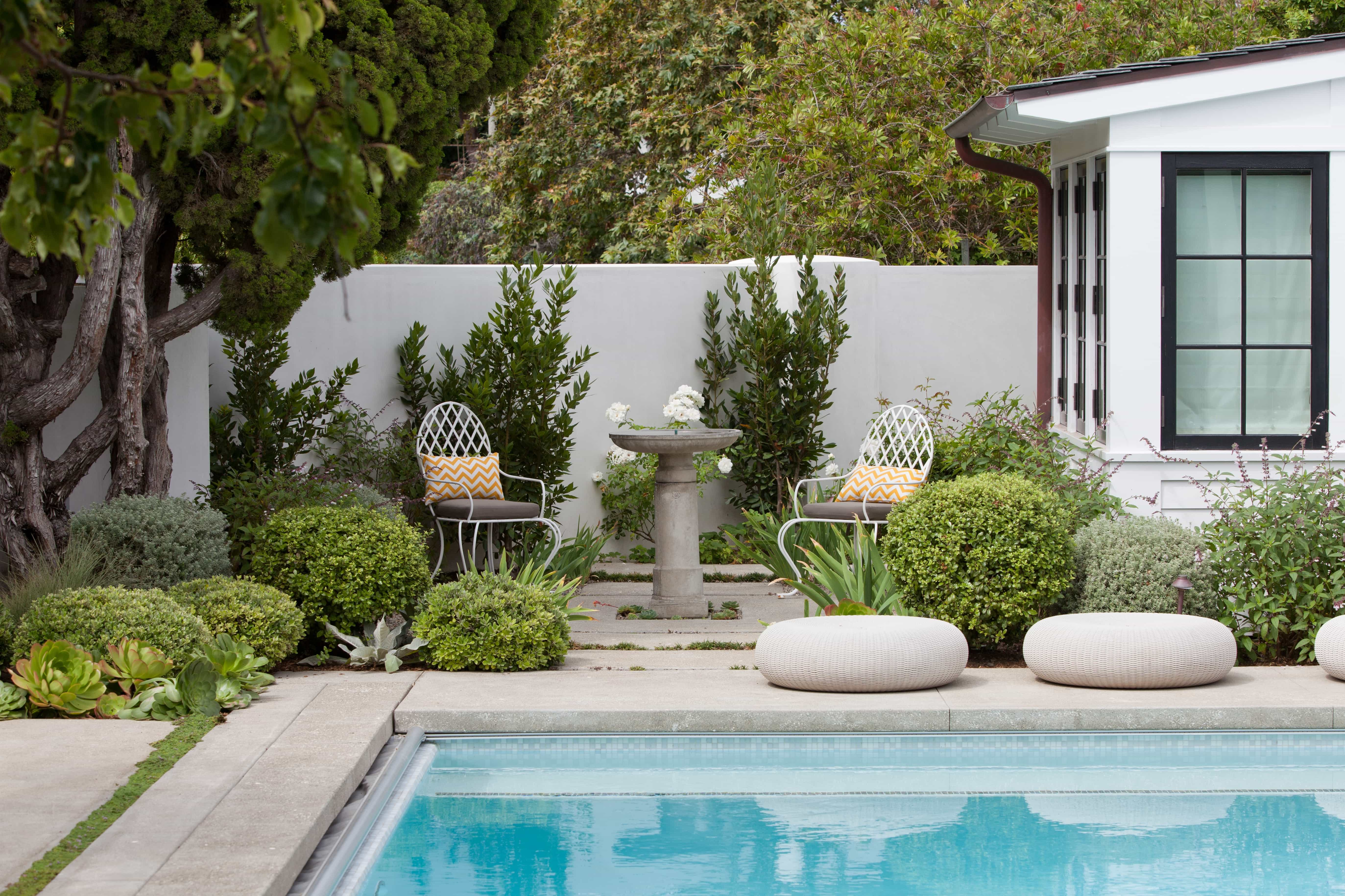 Contemporary Outdoor Pool With Lounge Chairs And Garden (Photo 20 of 25)