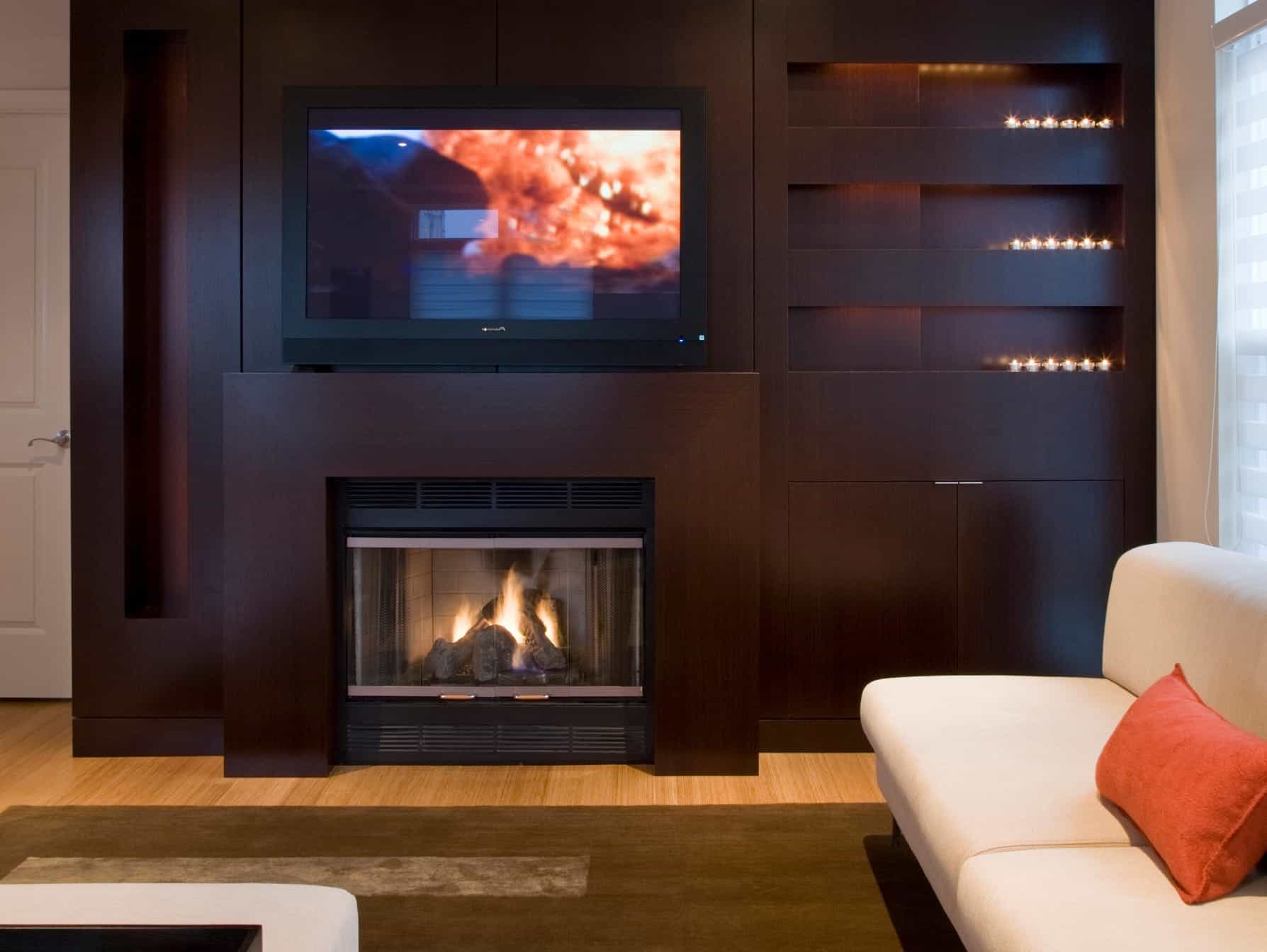 Contemporary Wood Entertainment Center With Fireplace (Image 6 of 21)