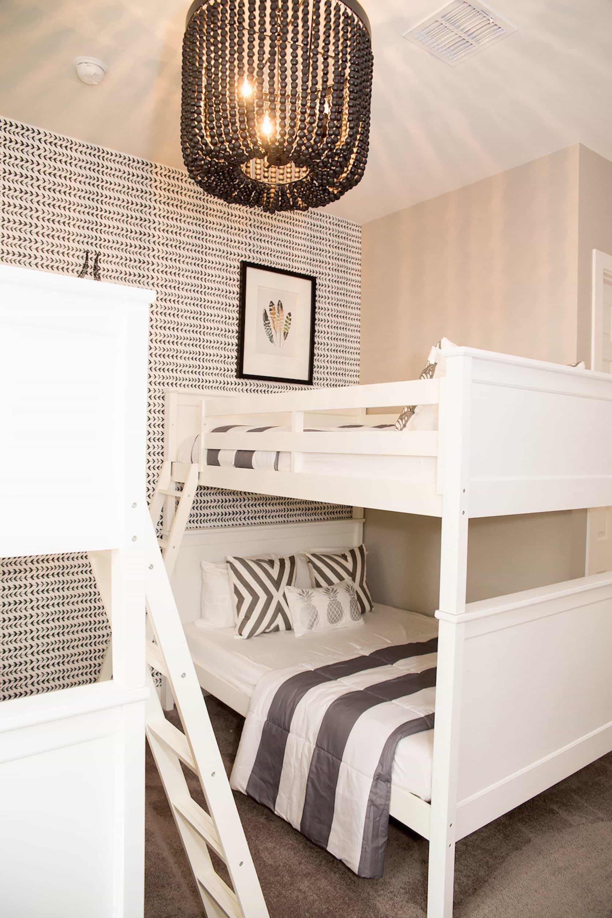 Contemporary Black And White Kids Bedroom With Bunk Bed And Small Print Graphic Wallpaper As A Backdrop (Image 11 of 27)