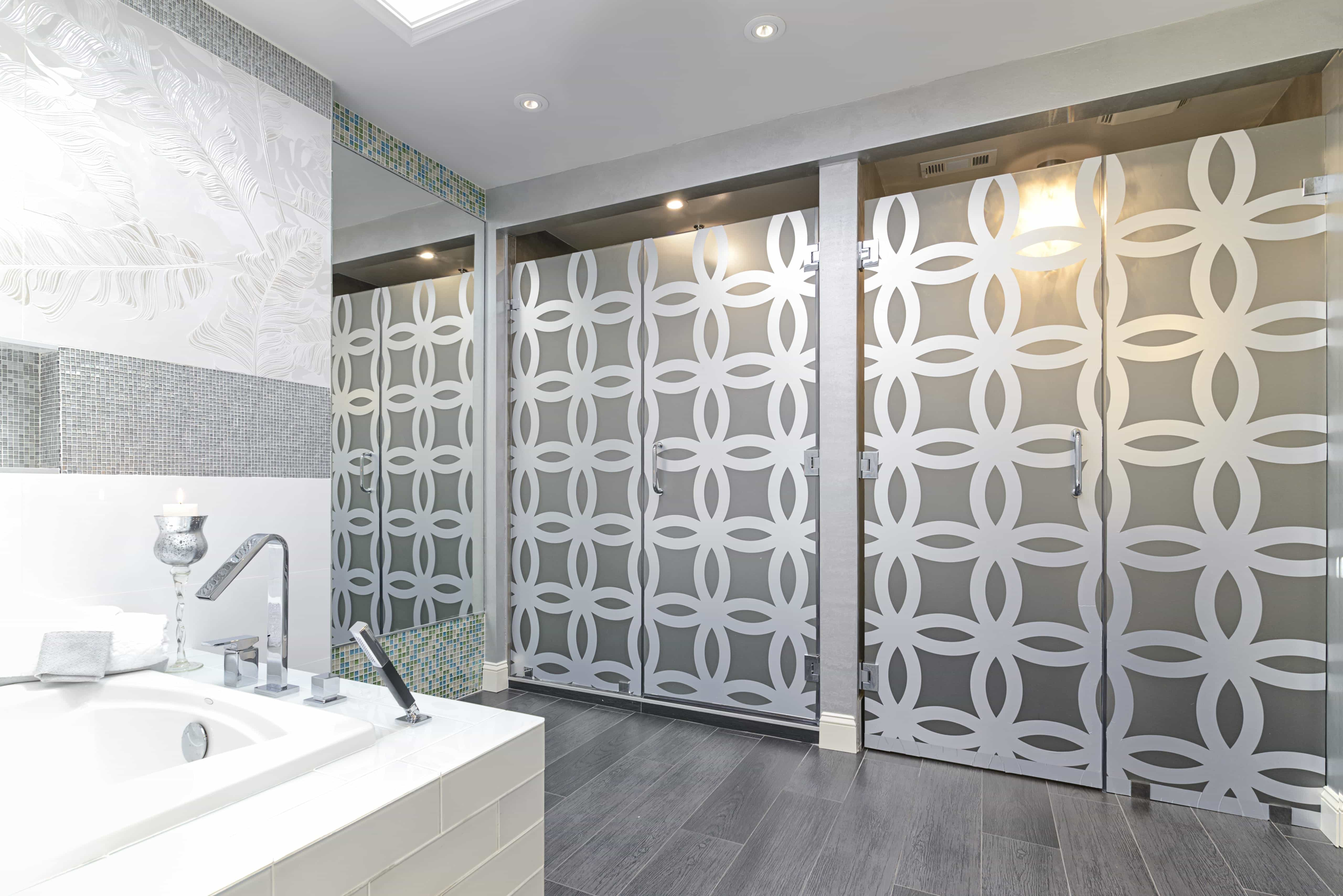 Contemporary Geometric Etched Glass Bathroom Doors (Image 3 of 7)
