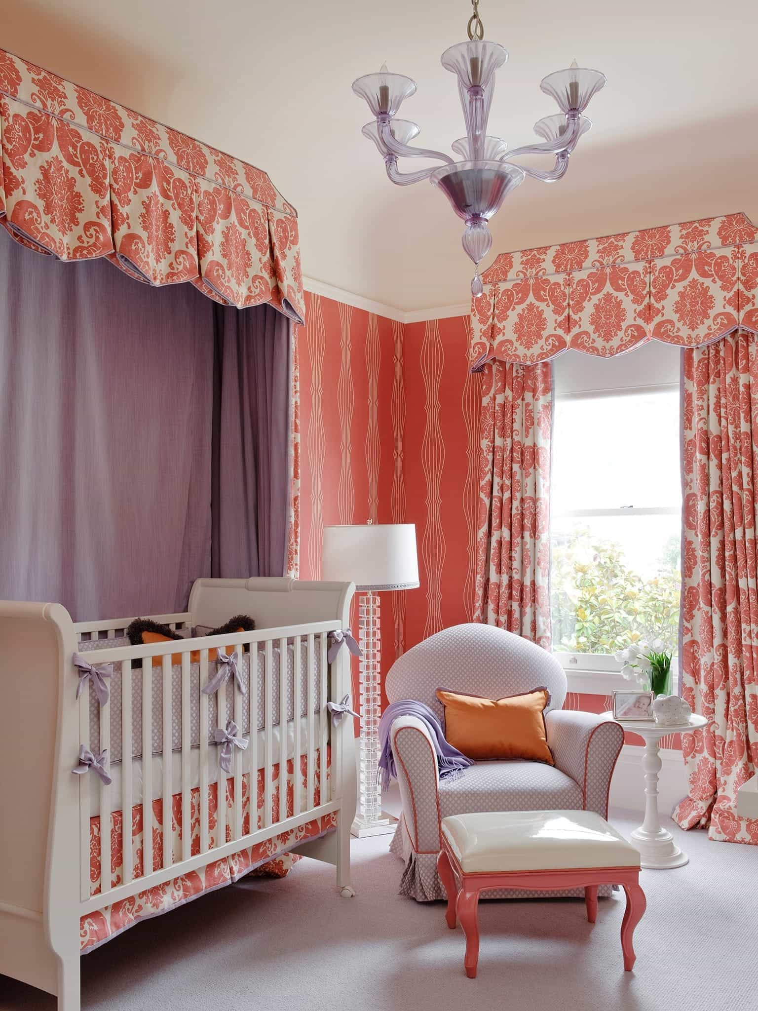 Coral And Lavender Nursery Bright And Colorful Baby Room Decor (Image 9 of 33)