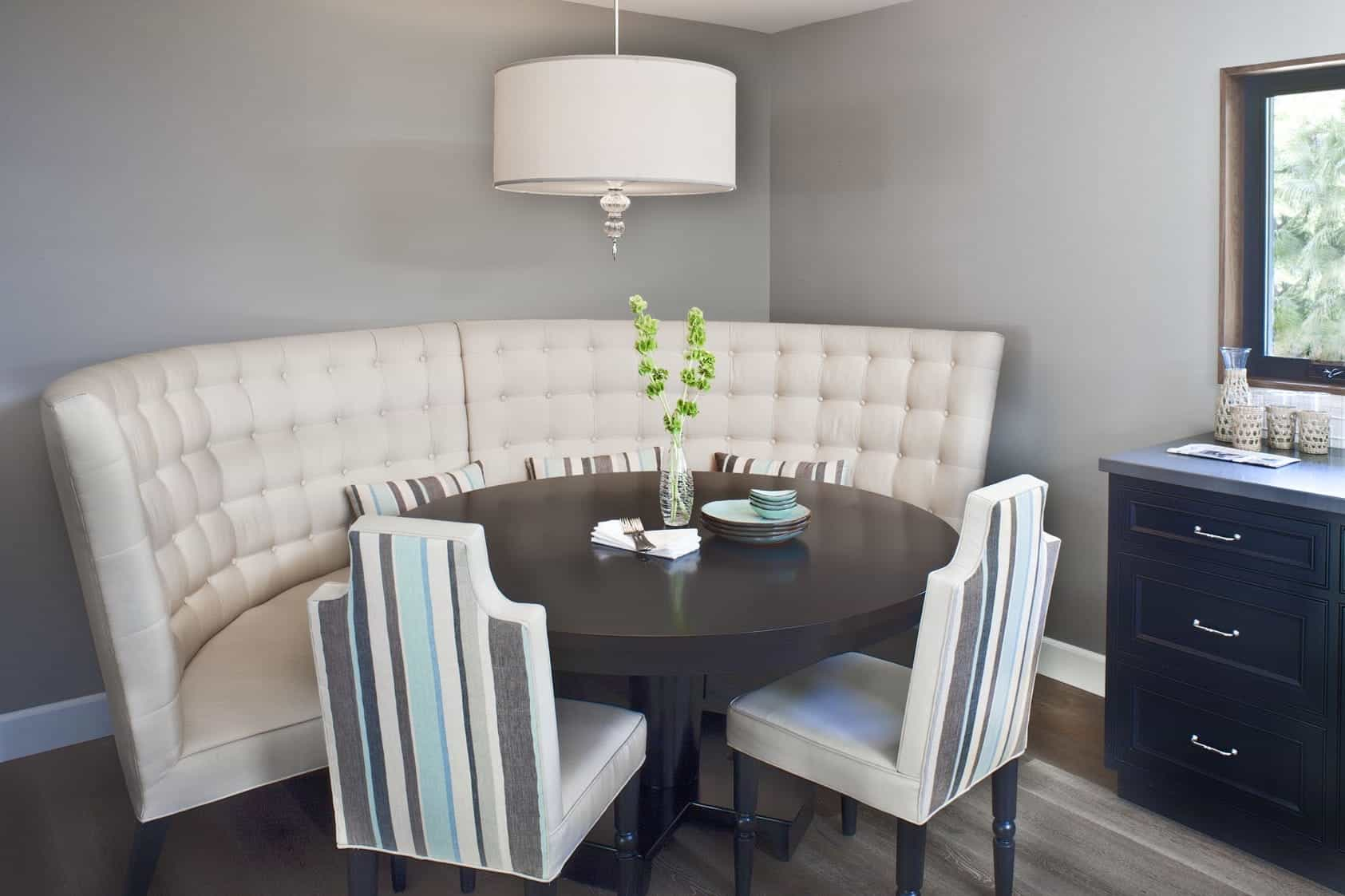 Corner Dining Room In Romantic Style With Tufted Bench And Striped Chairs (Photo 21 of 21)