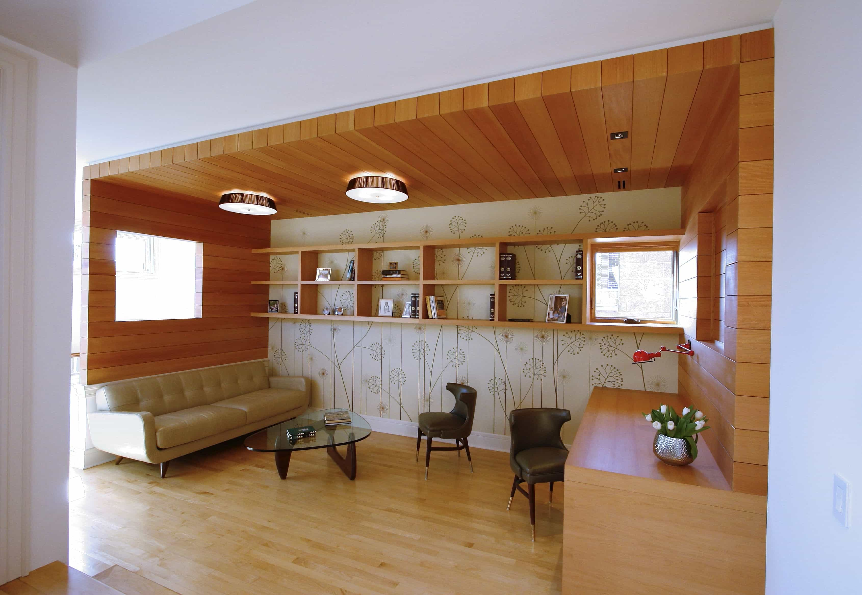 Cozy Home Office And Library With Contemporary Flat Wood Paneling Cabinets  (Image 5 Of 10