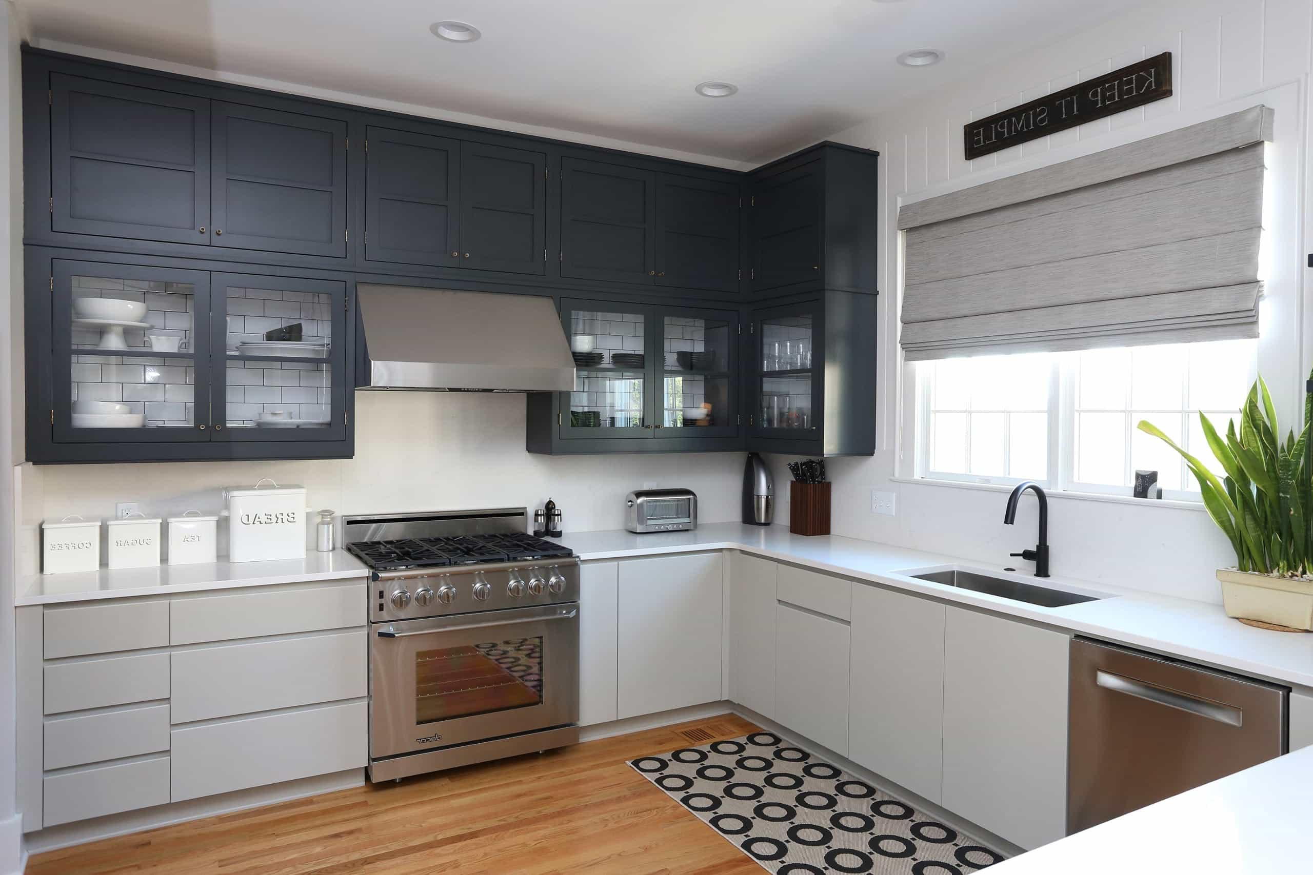 Dark Grey Two Toned Cabinets In Modern Industiral Kitchen (Photo 25 of 26)