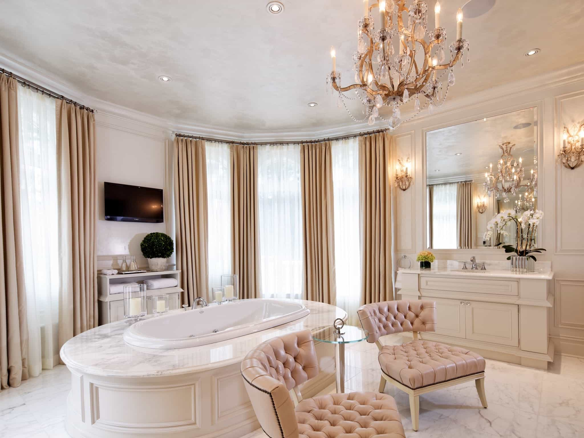 Deluxe Elegant Master Bathroom With Marble Floors (View 13 of 13)