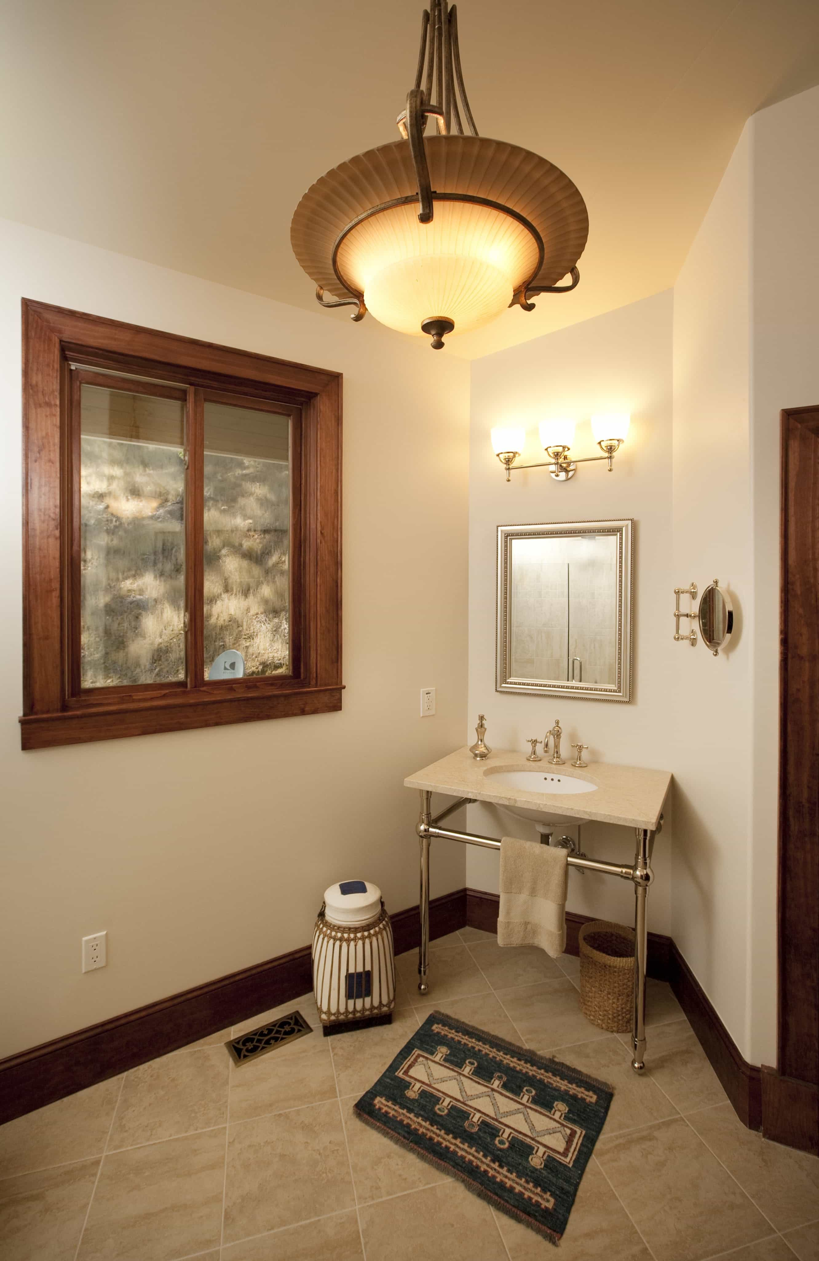 Eclectic Bathroom Mirror With Large Decorative Hanging Light (Image 10 of 20)